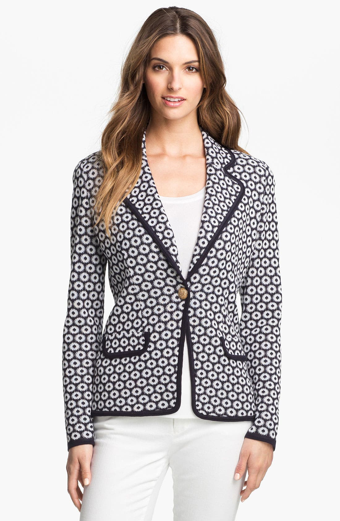 Alternate Image 1 Selected - Exclusively Misook 'Camille' Print Front Jacket (Petite) (Online Only)