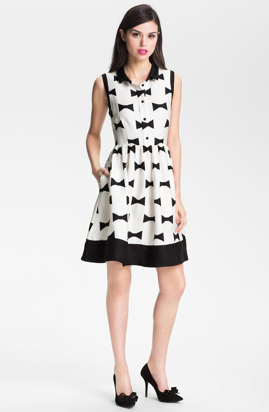 Main Image - kate spade new york 'monroe' print fit & flare dress