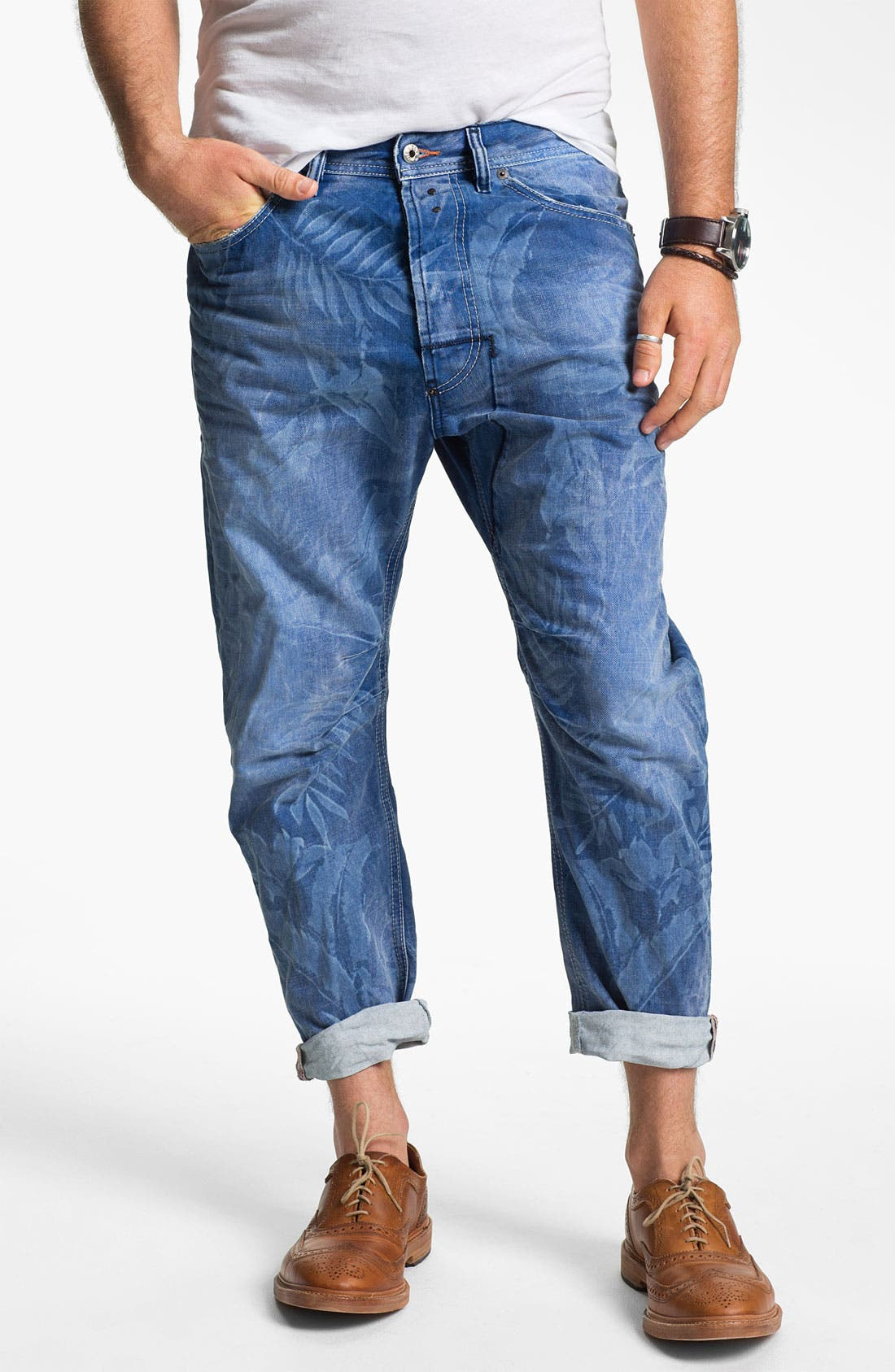 Main Image - DIESEL® 'Narrot' Cropped Slouchy Tapered Leg Jeans (Palm Print)