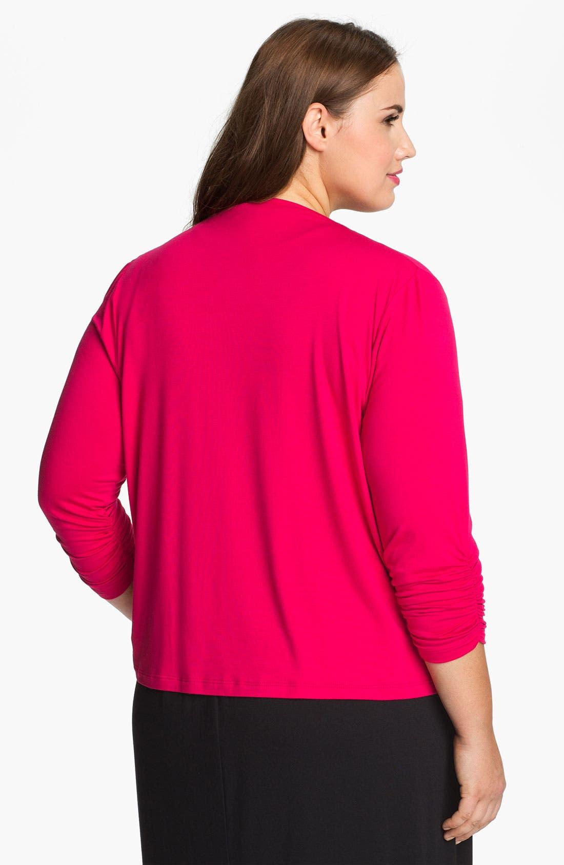 Alternate Image 2  - Karen Kane Shirred Sleeve Draped Cardigan (Plus) (Online Only)