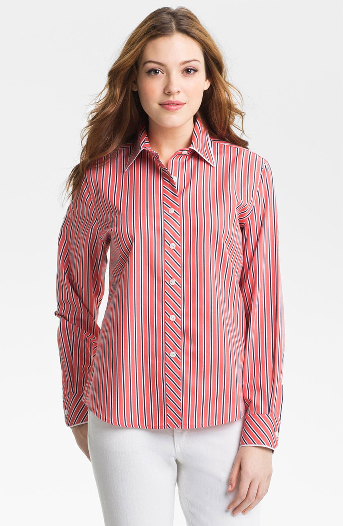 Alternate Image 2  - Foxcroft 'Papaya Stripe' Shirt (Petite)