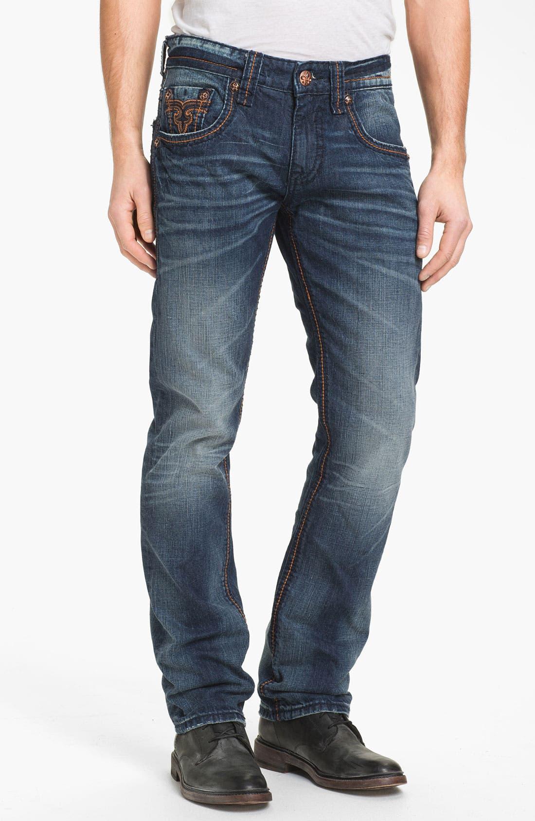 Alternate Image 2  - Rock Revival 'Ewan Alternative' Straight Leg Jeans (Dark Blue)