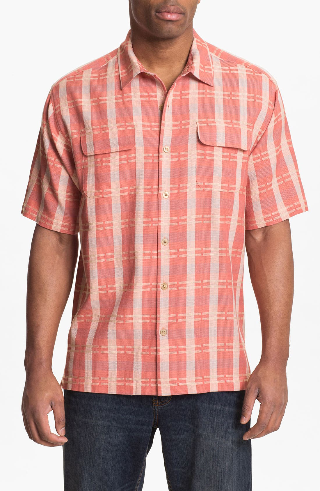 Main Image - Tommy Bahama 'Plaid Modern' Silk & Cotton Sport Shirt
