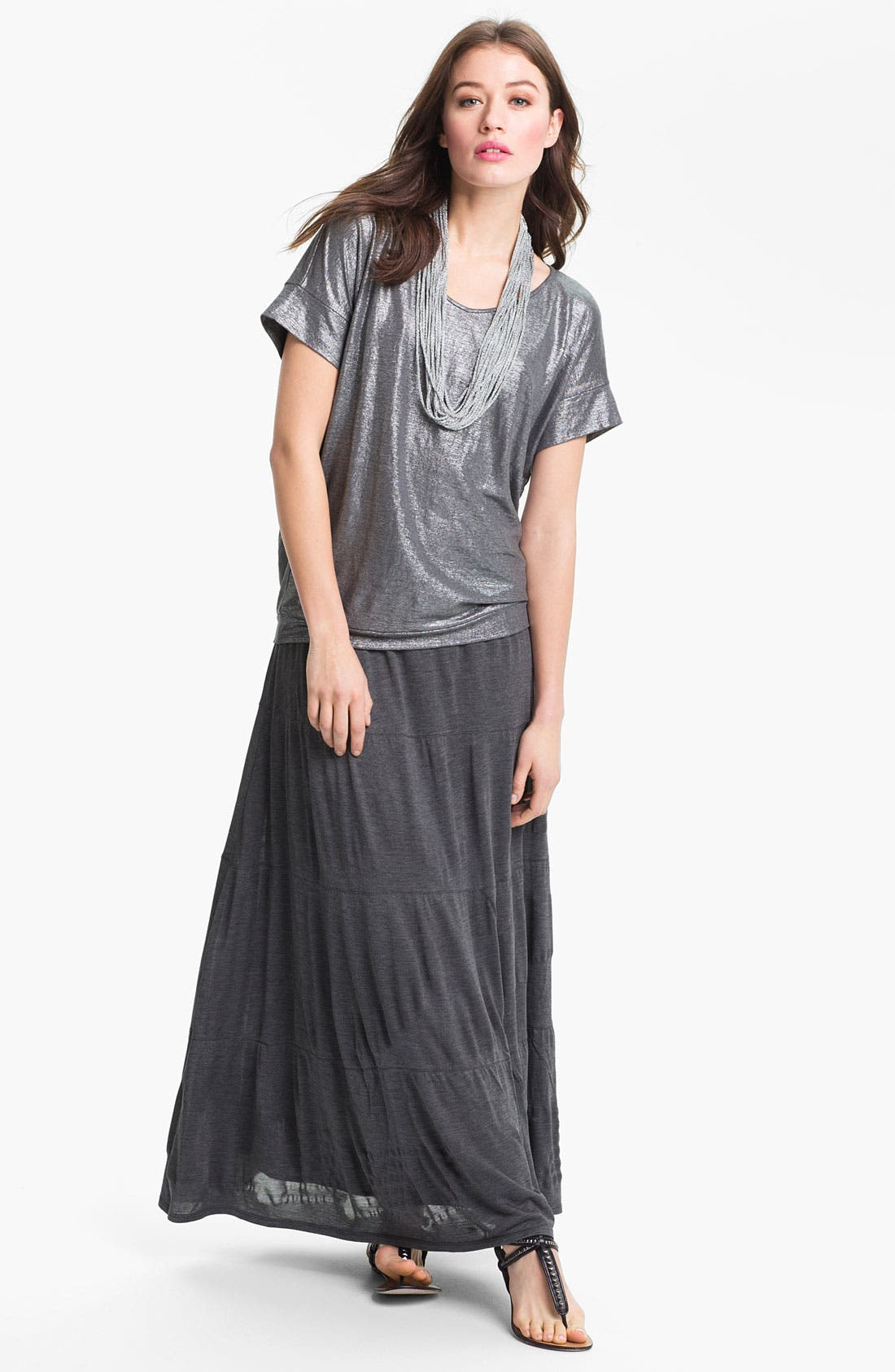 Alternate Image 2  - Eileen Fisher Metallic Knit Necklace Scarf (Online Exclusive)