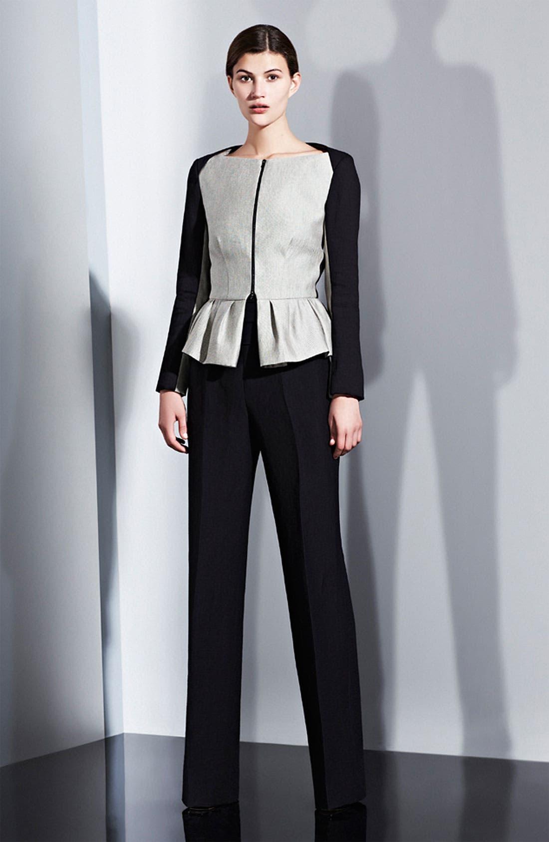Alternate Image 6  - Lida Baday Contrast Sleeve Raffia Peplum Jacket