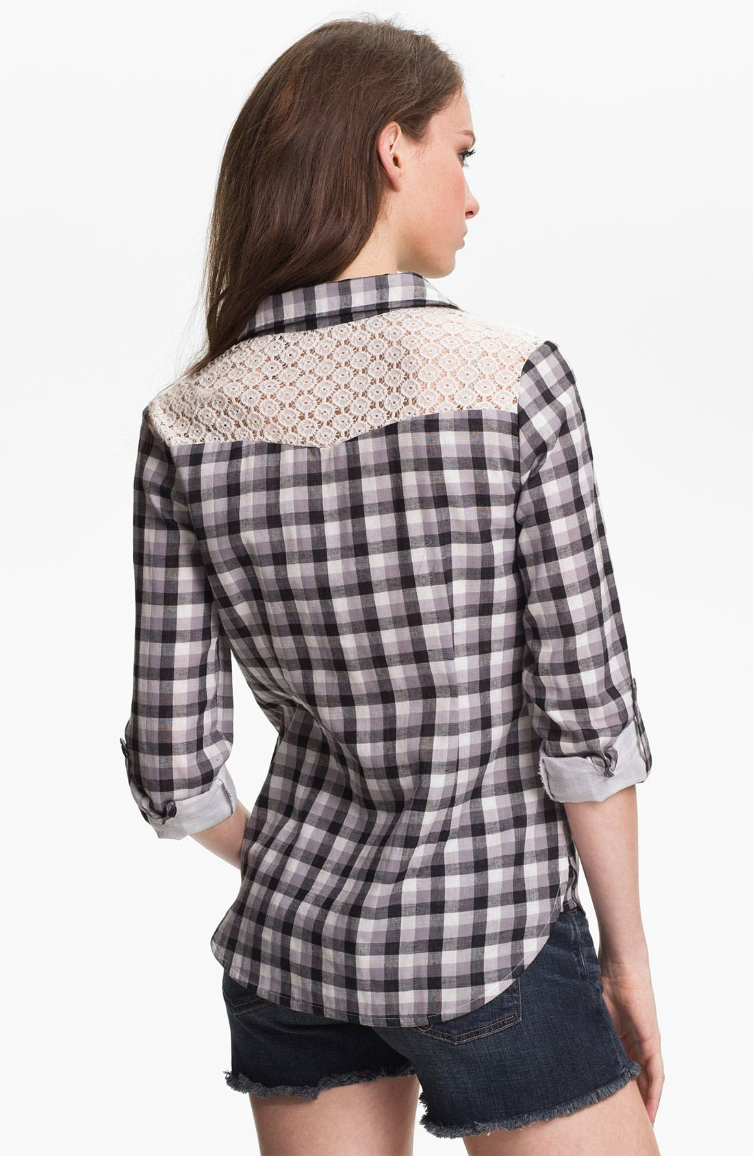 Alternate Image 2  - Two by Vince Camuto Lace Trim Plaid Shirt