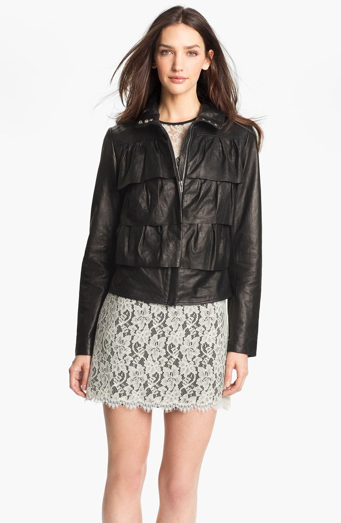Alternate Image 1 Selected - Diane von Furstenberg 'Cupcake' Leather Bomber Jacket