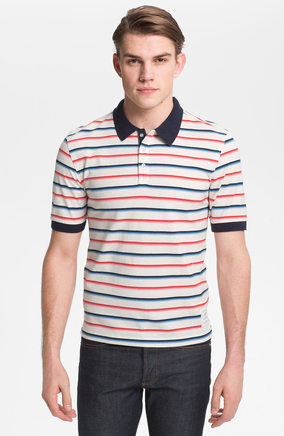 Alternate Image 1 Selected - Thom Browne Stripe Cotton Jersey Polo