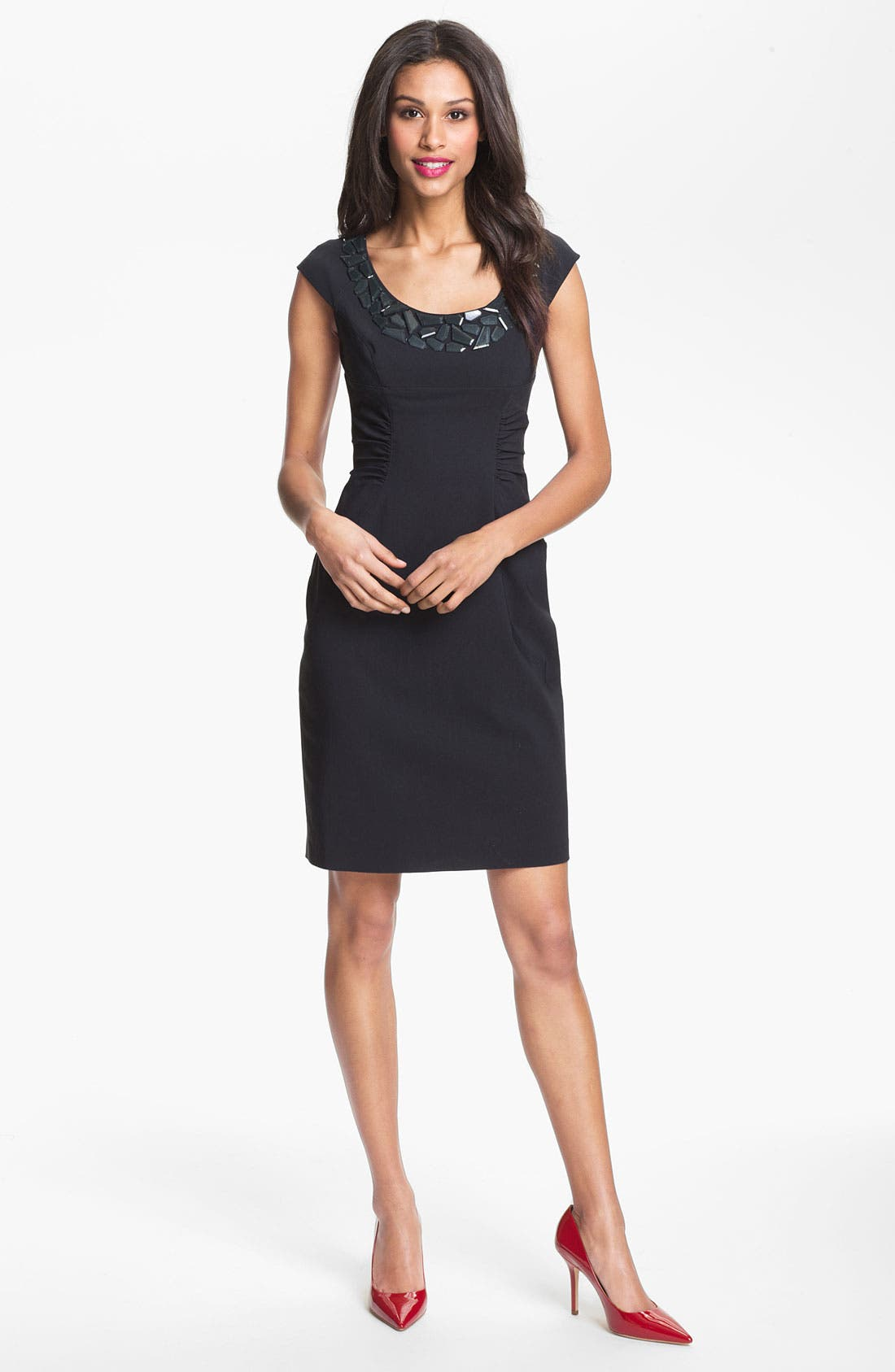 Alternate Image 1 Selected - Adrianna Papell Embellished Ruched Sheath Dress