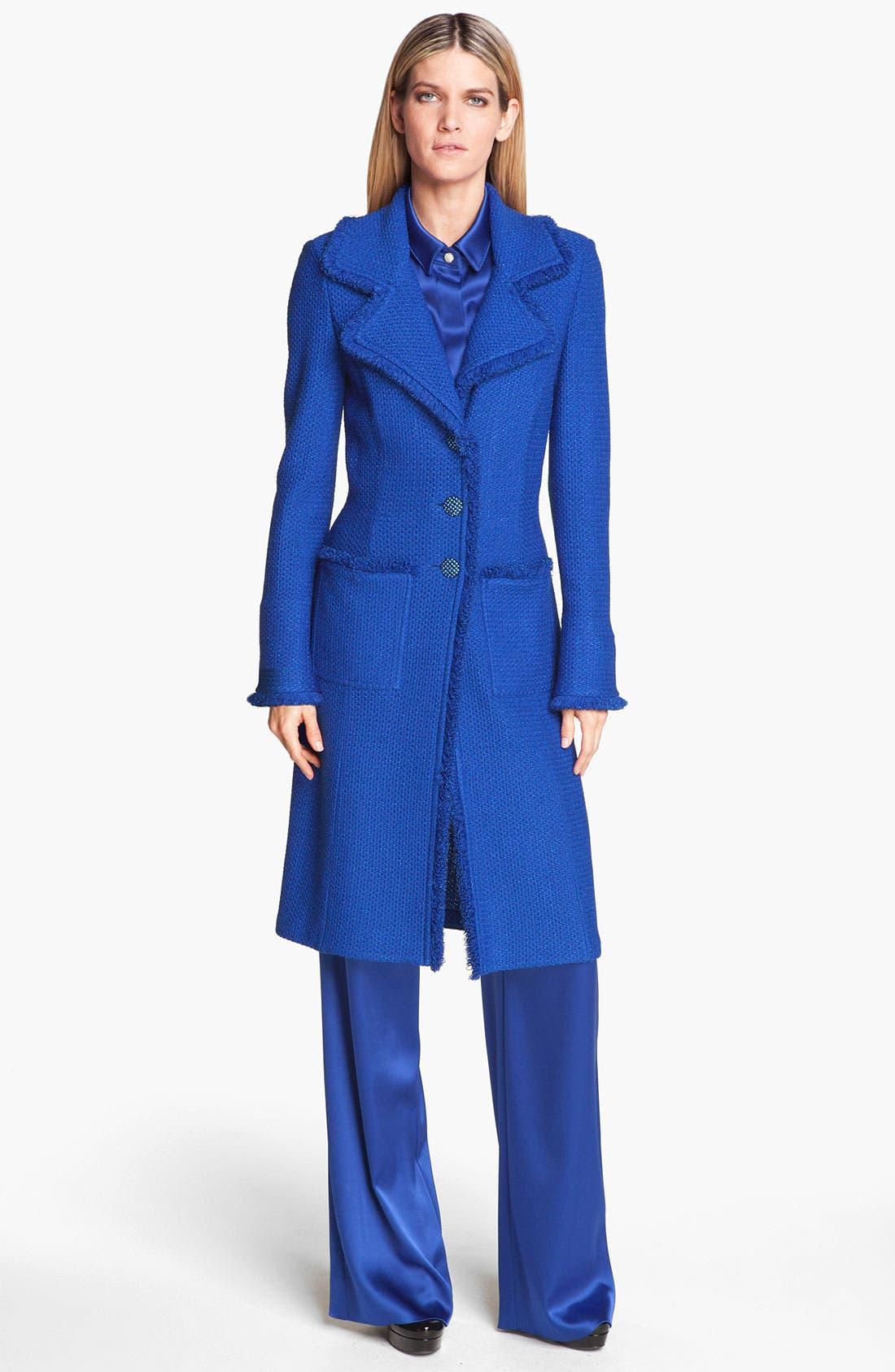 Main Image - St. John Collection Long Fringe Trim Tweed Coat