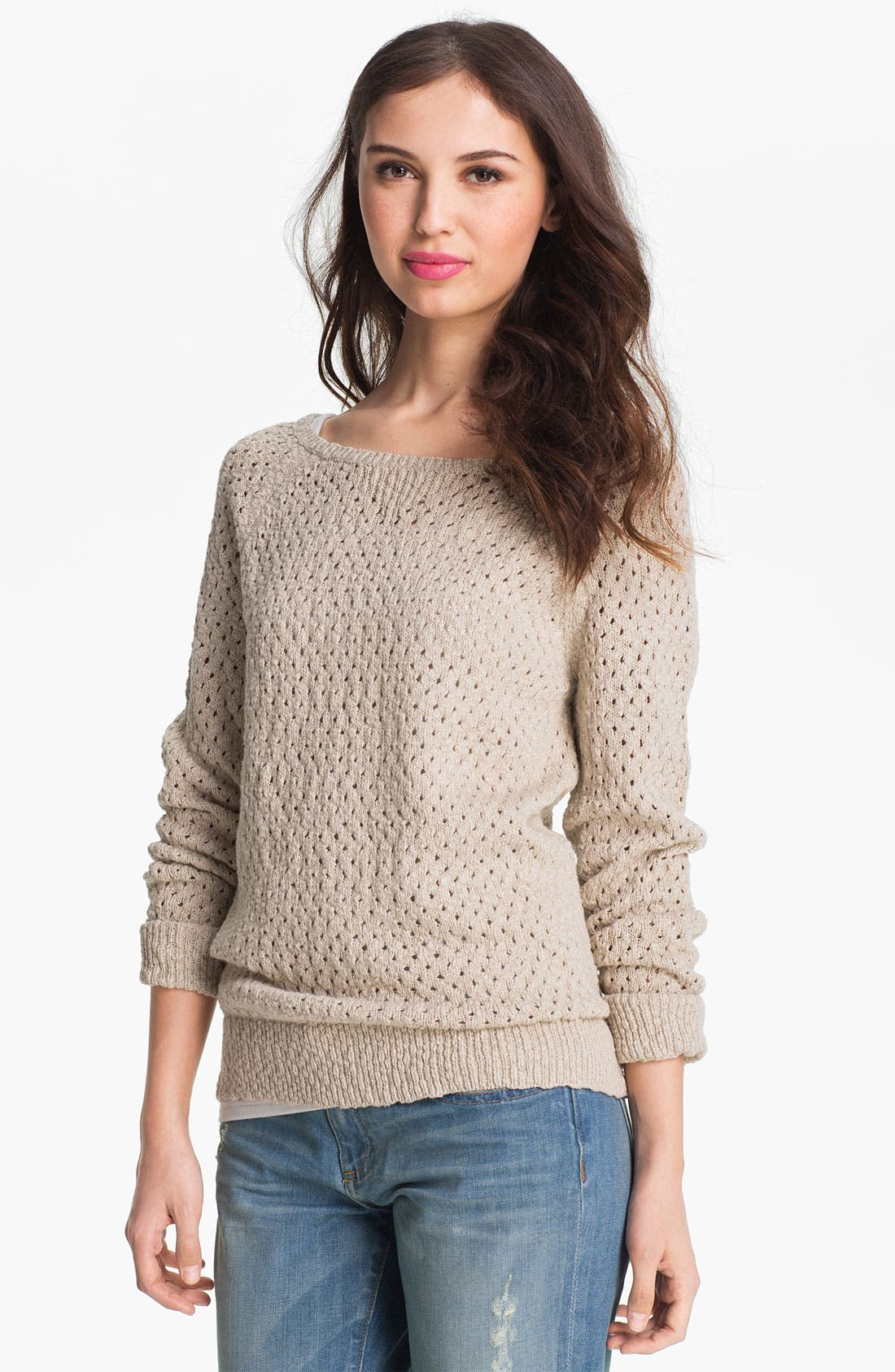 Alternate Image 1 Selected - Caslon Open Stitch Crewneck Sweater