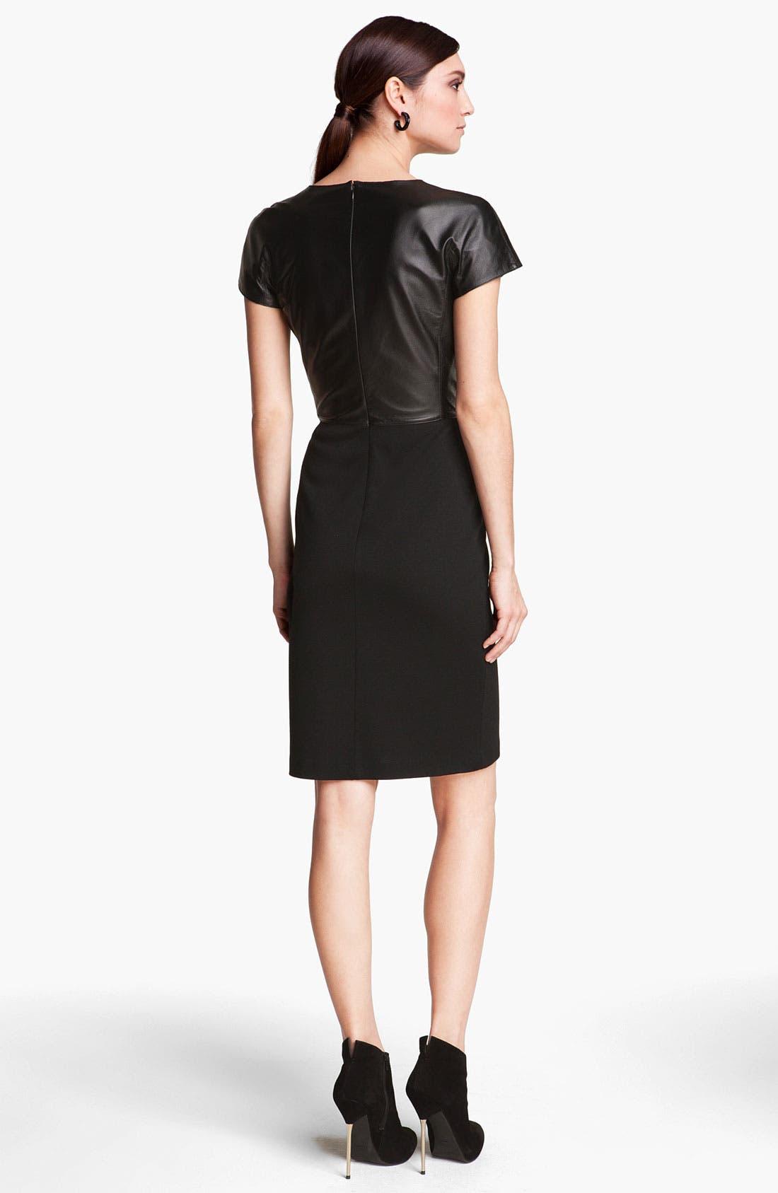 Alternate Image 2  - St. John Collection Nappa Leather & Milano Knit Dress