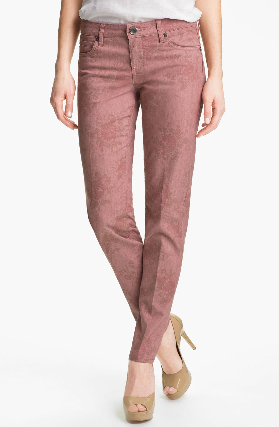 Main Image - KUT from the Kloth 'Diana' Print Skinny Jeans (Rose)