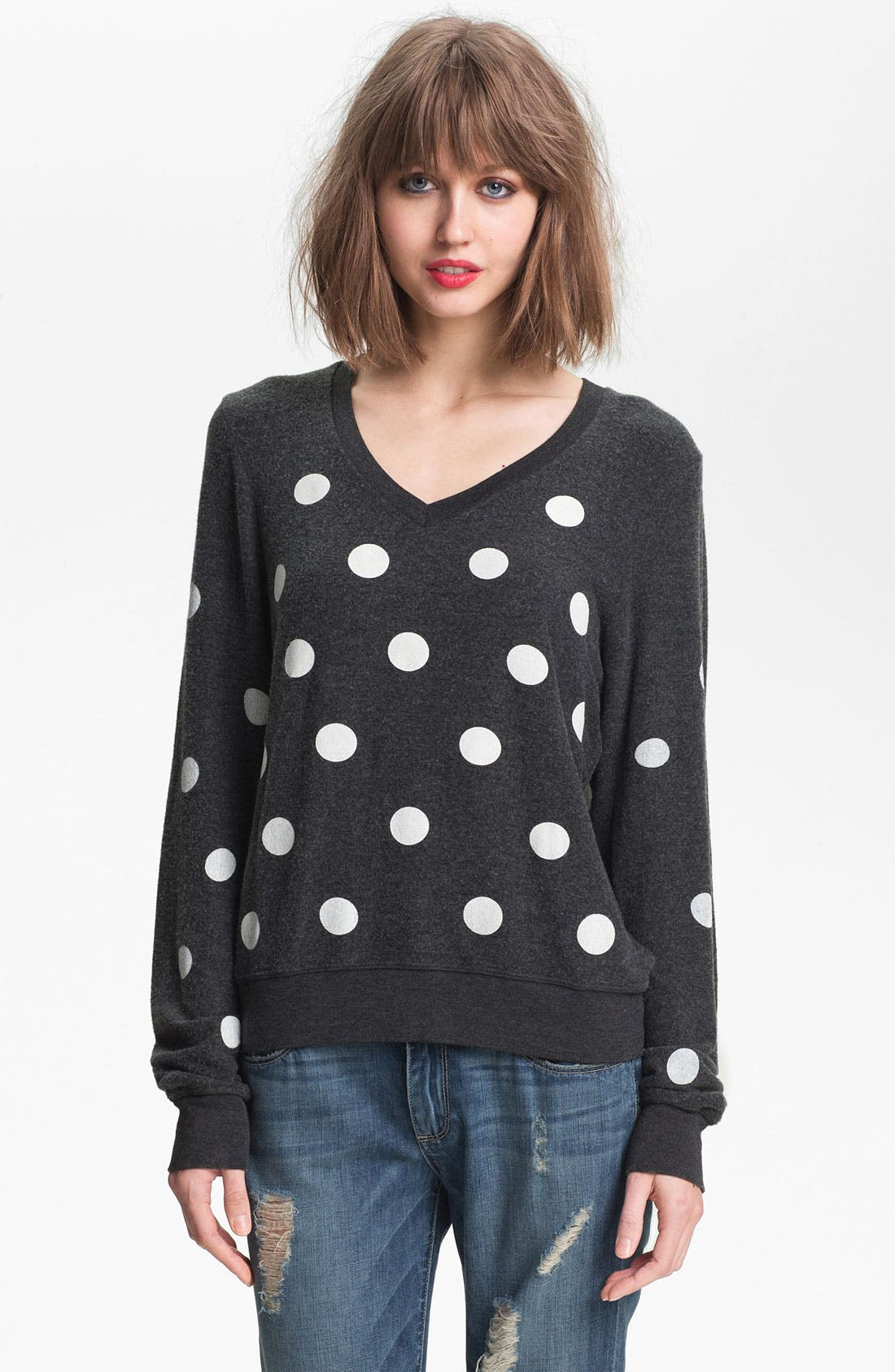 Main Image - Wildfox Polka Dot Sweatshirt (Nordstrom Exclusive)