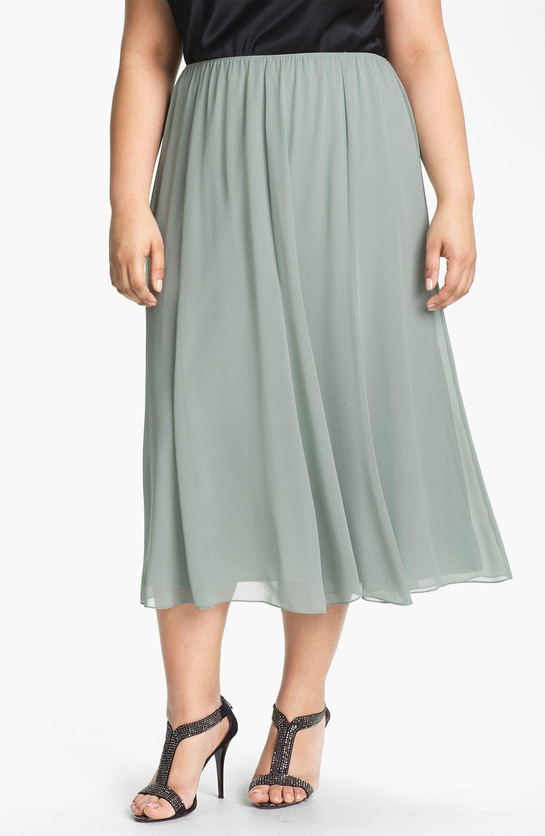 Main Image - Alex Evenings Chiffon Skirt (Plus Size)