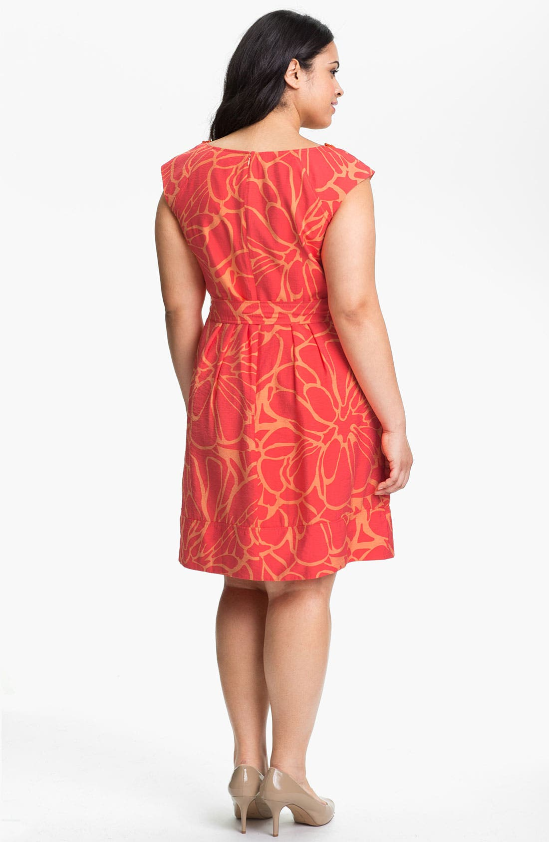 Alternate Image 2  - Adrianna Papell Print Fit & Flare Dress (Plus Size)