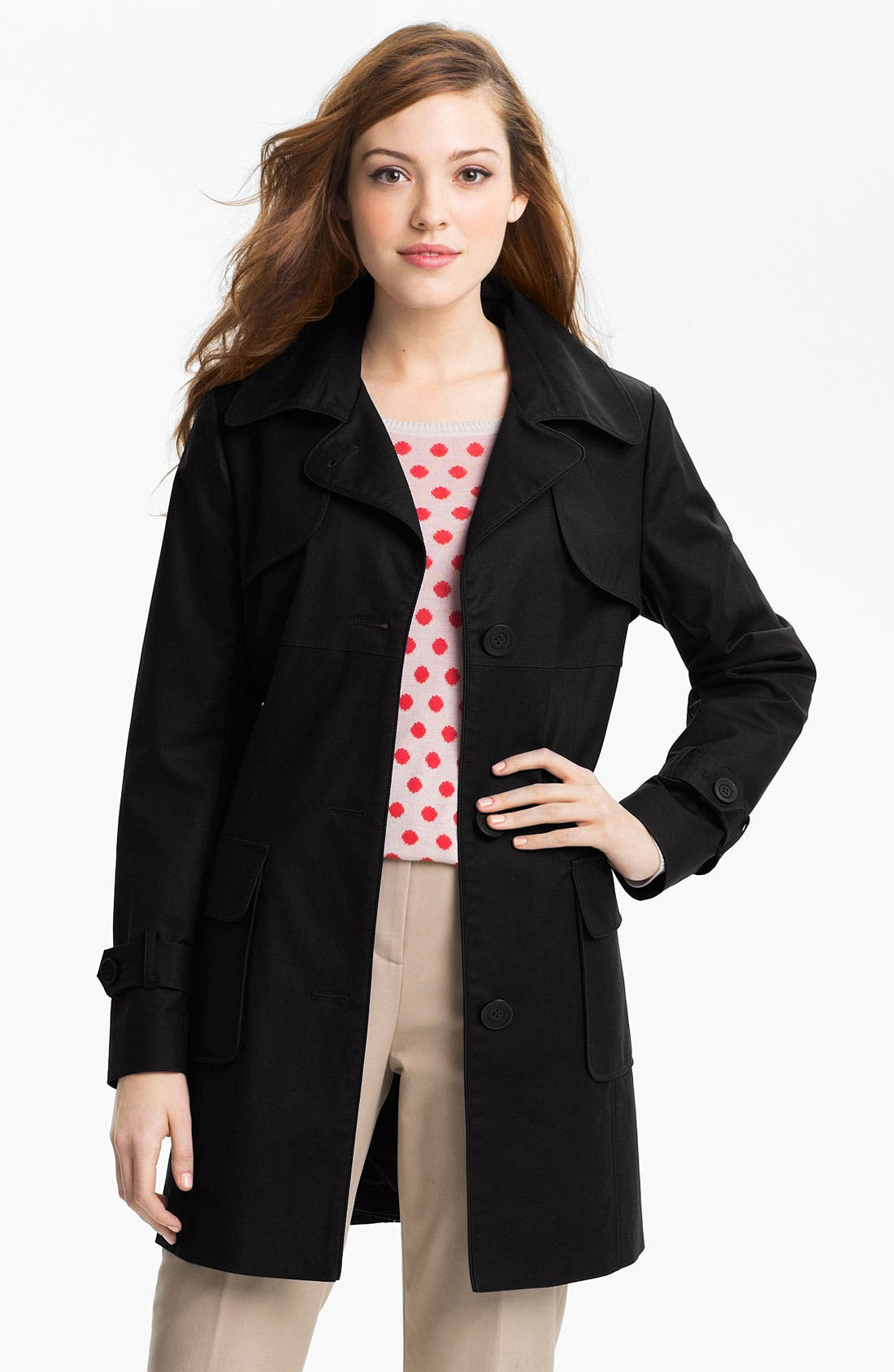 Main Image - Kristen Blake Single Breasted Trench Coat (Regular & Petite)