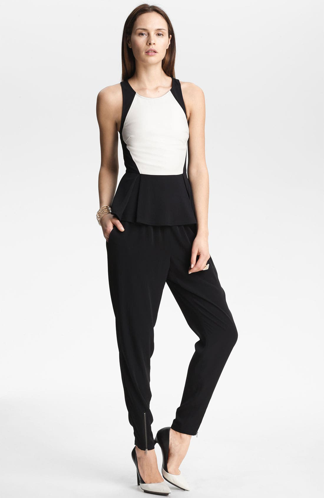 Alternate Image 1 Selected - ASTR Peplum Tank & Leith Pants
