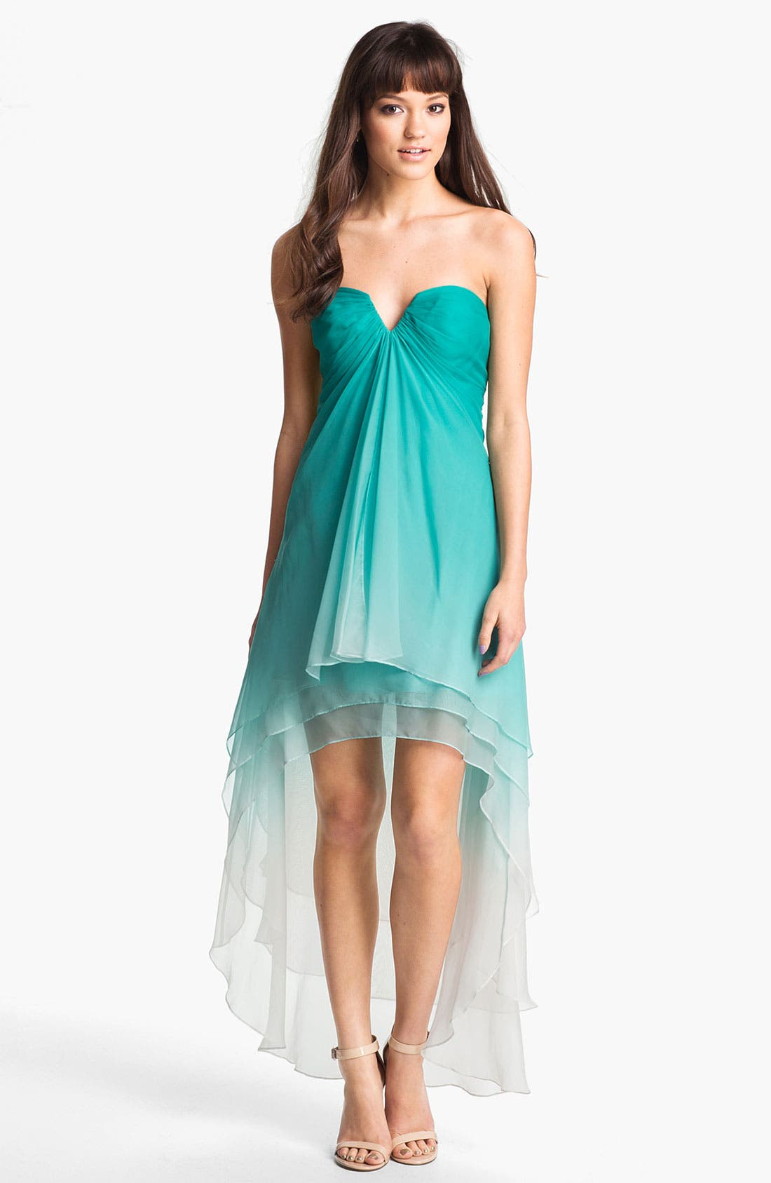 Alternate Image 1 Selected - La Femme Ombré Strapless High/Low Chiffon Gown