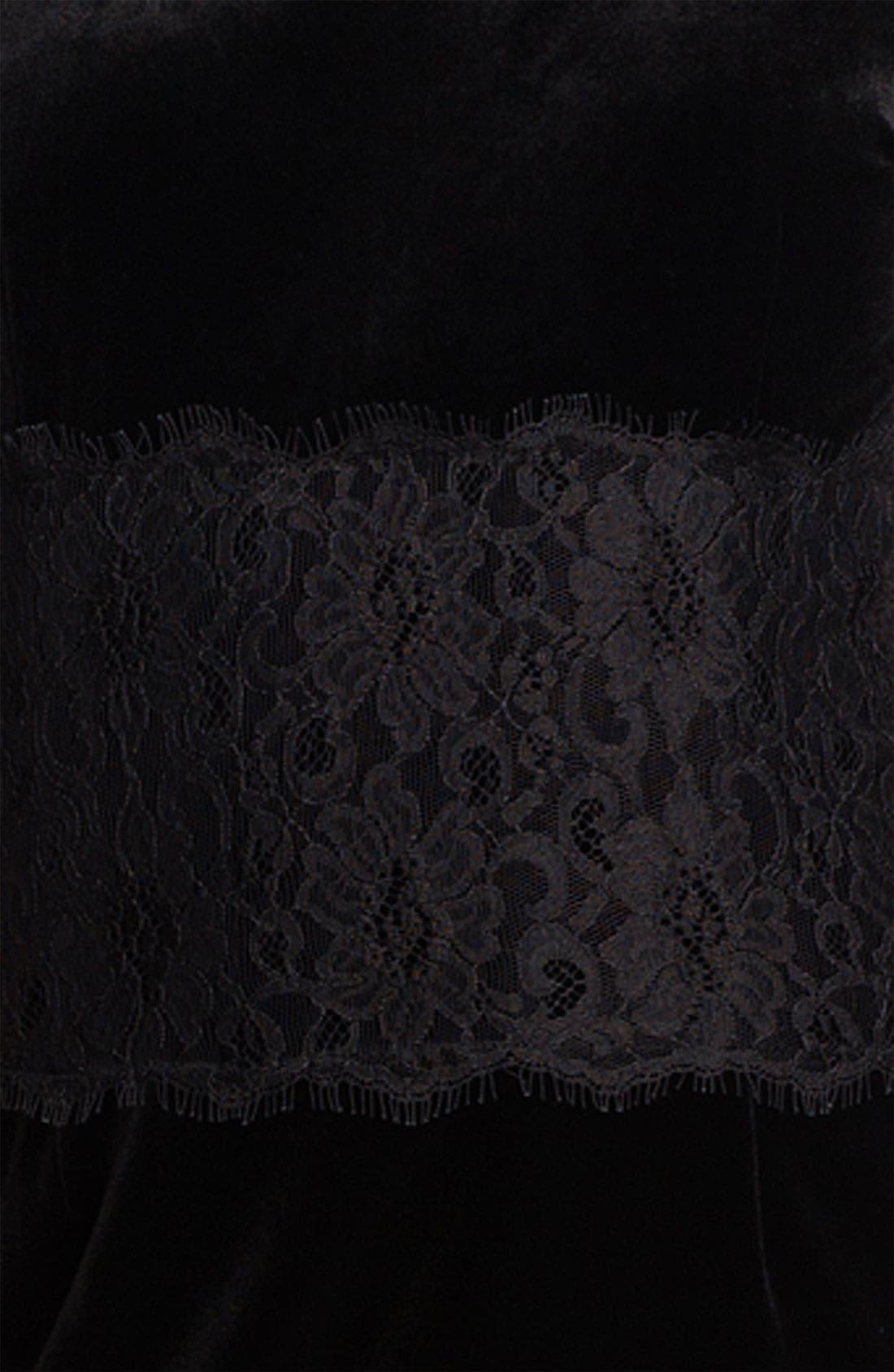 Alternate Image 3  - Donna Morgan Lace Inset Velour Sheath Dress (Petite)