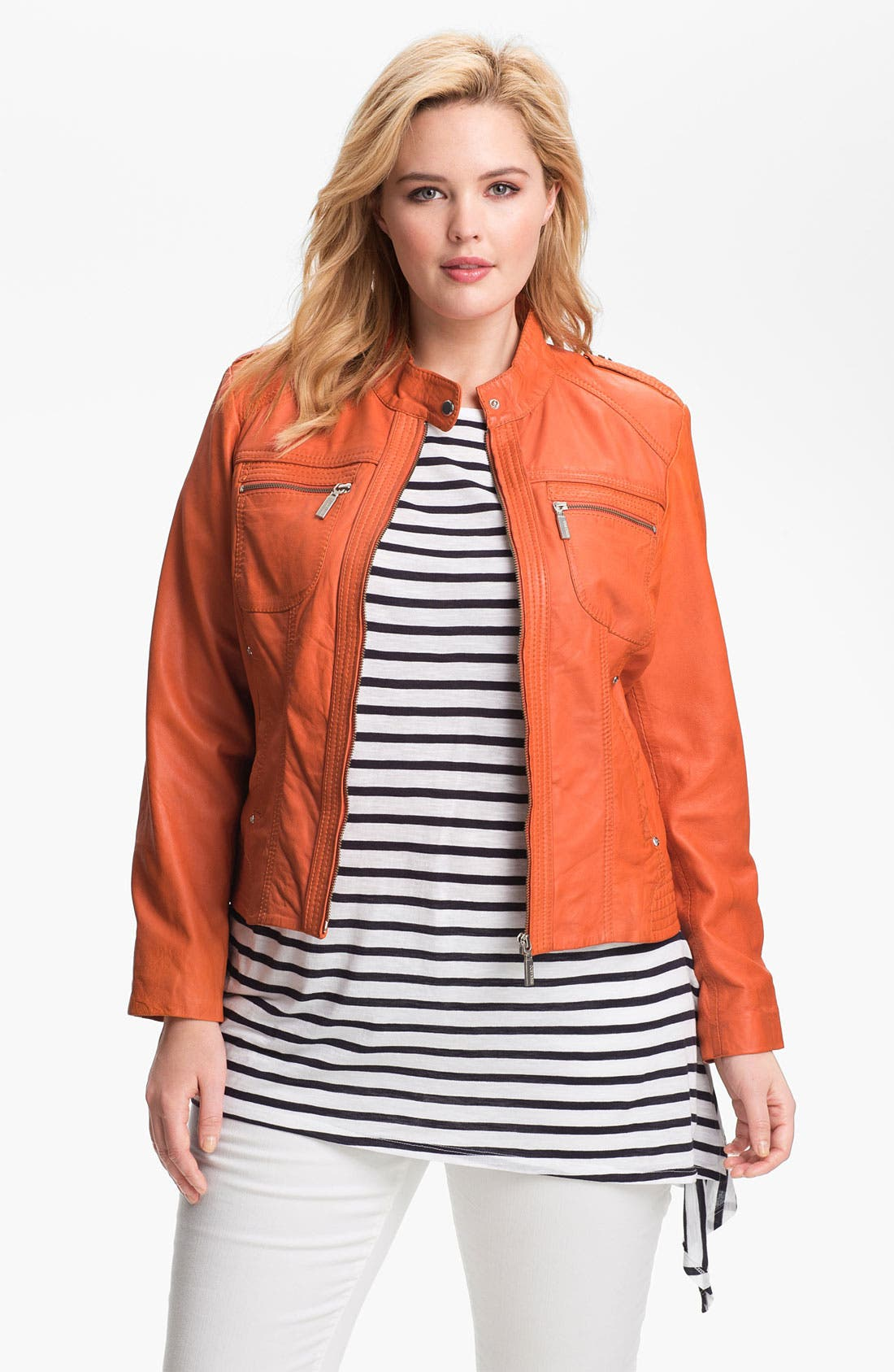 Alternate Image 1 Selected - Bernardo Leather Scuba Jacket (Plus) (Nordstrom Exclusive)