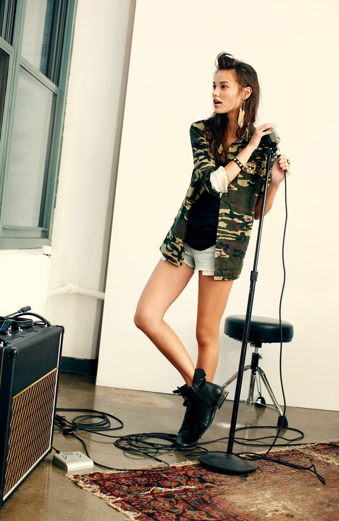 Alternate Image 3  - Lush Studded Camo Print Army Jacket (Juniors)