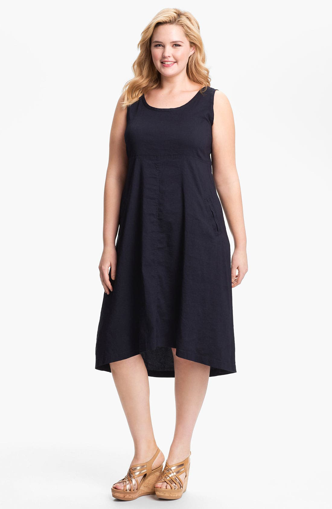 Main Image - Eileen Fisher Midi A-Line Dress (Plus Size)