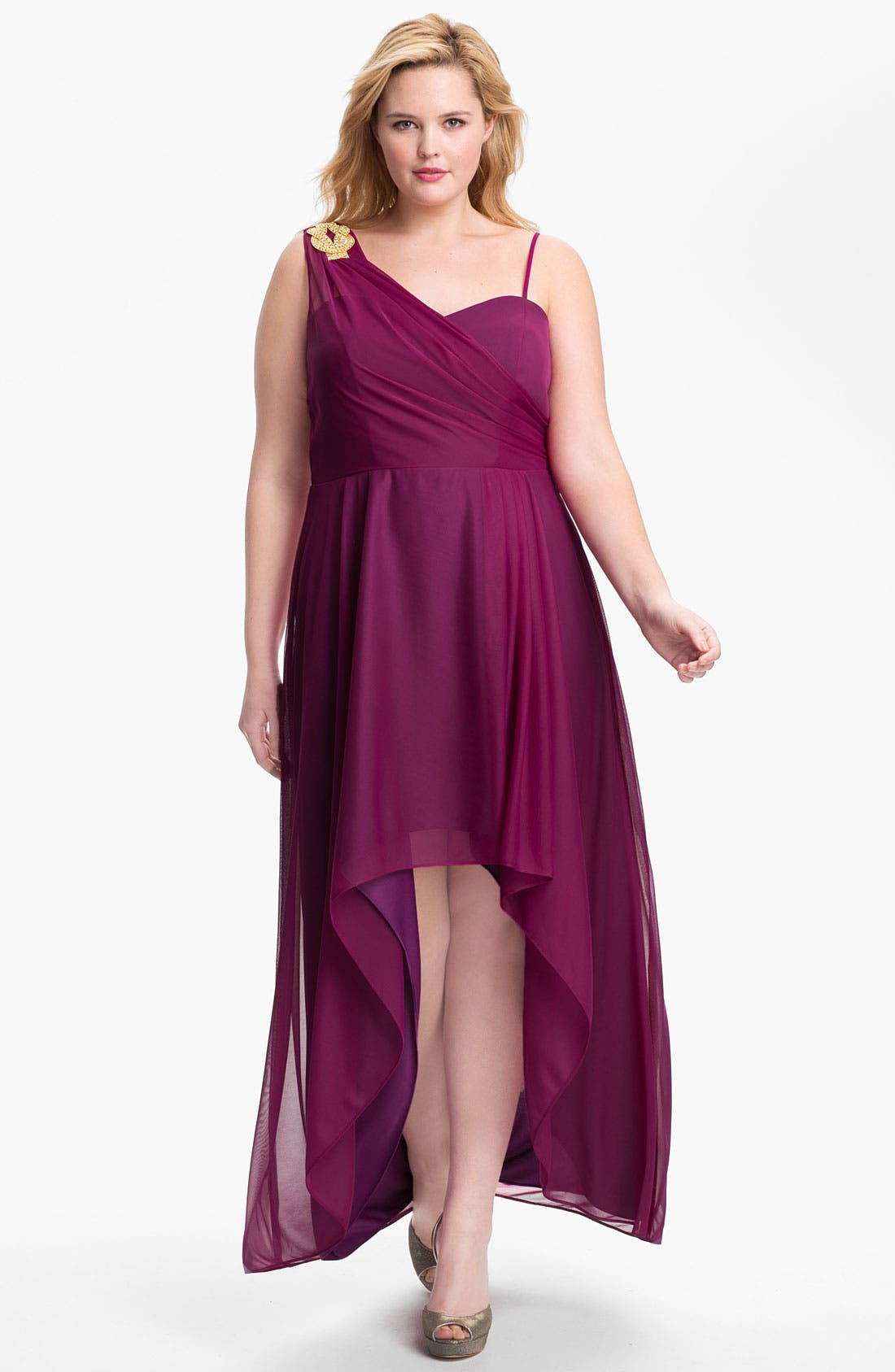 Main Image - Xscape Embellished High/Low Mesh Gown (Plus Size) (Online Only)