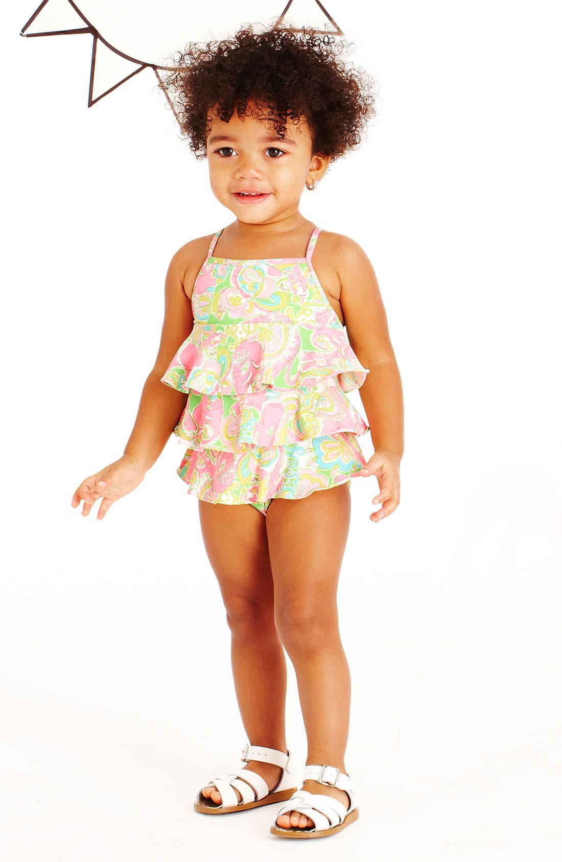 Main Image - Lilly Pulitzer® Swimsuit & Hoy Shoe Salt-Water® Sandals (Infant)