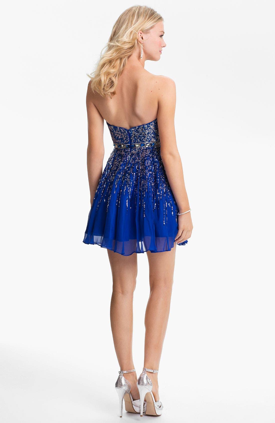 Alternate Image 2  - Sherri Hill Embellished Sweetheart Fit & Flare Silk Dress (Online Only)
