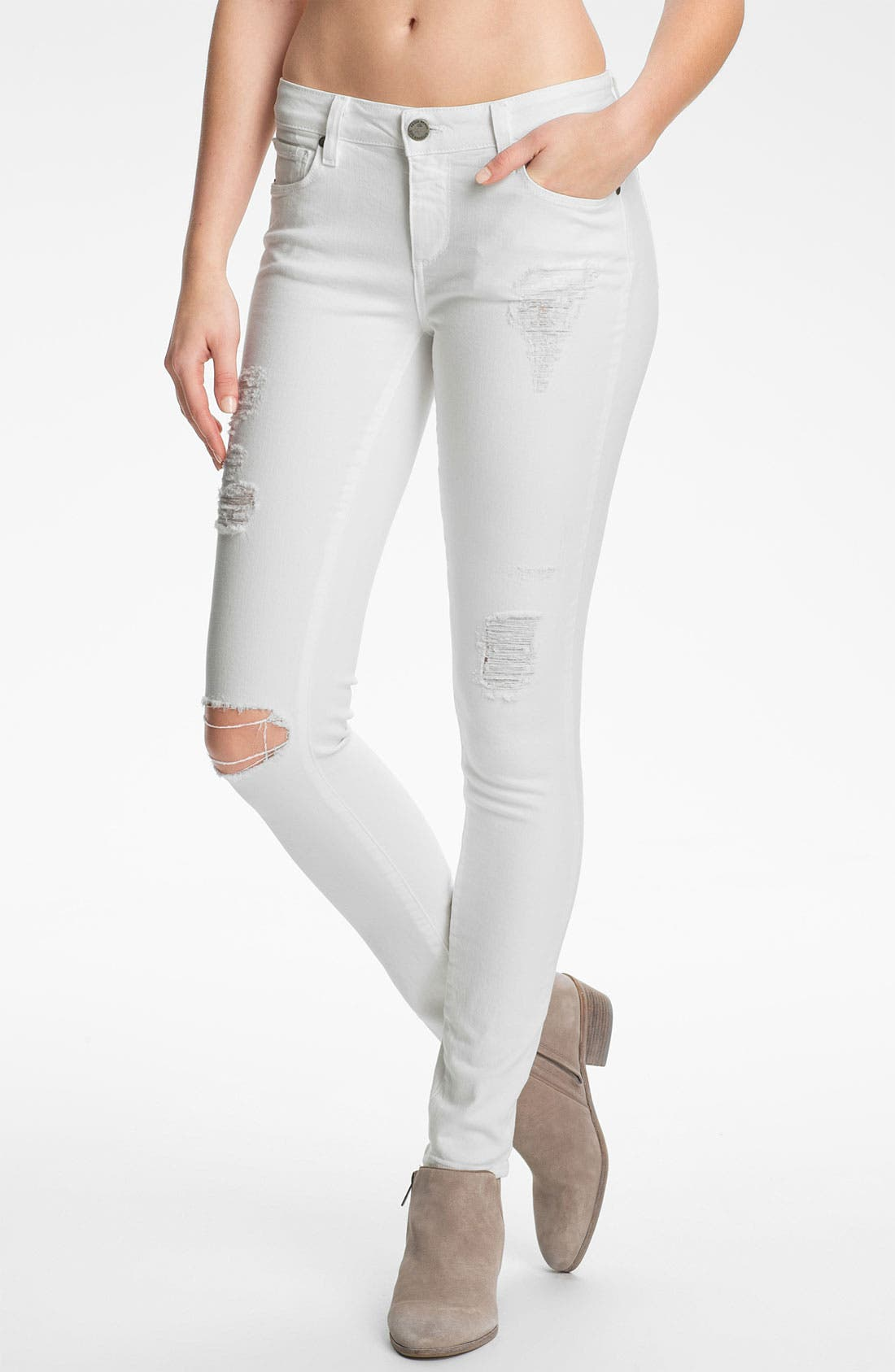 Main Image - PAIGE 'Verdugo' Destroyed Ultra Skinny Jeans (Optic White Deconstruction)