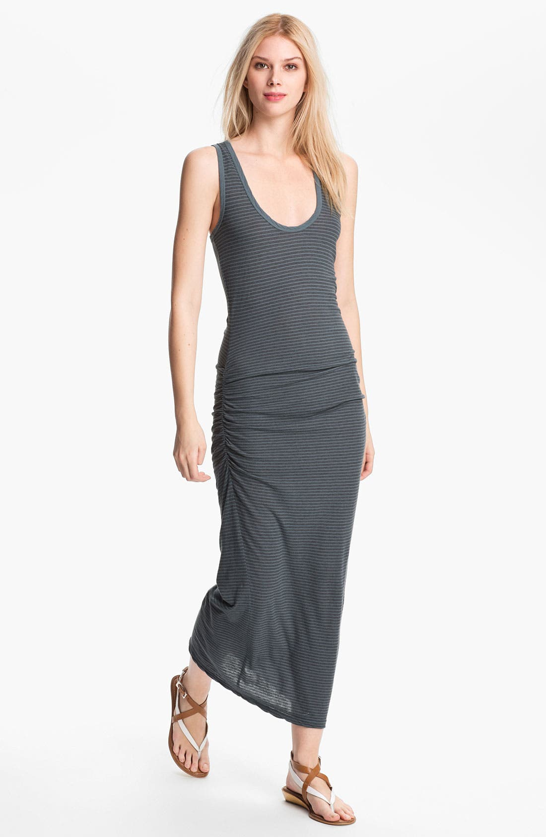 Alternate Image 1 Selected - James Perse Stripe Ruched Maxi Tank Dress