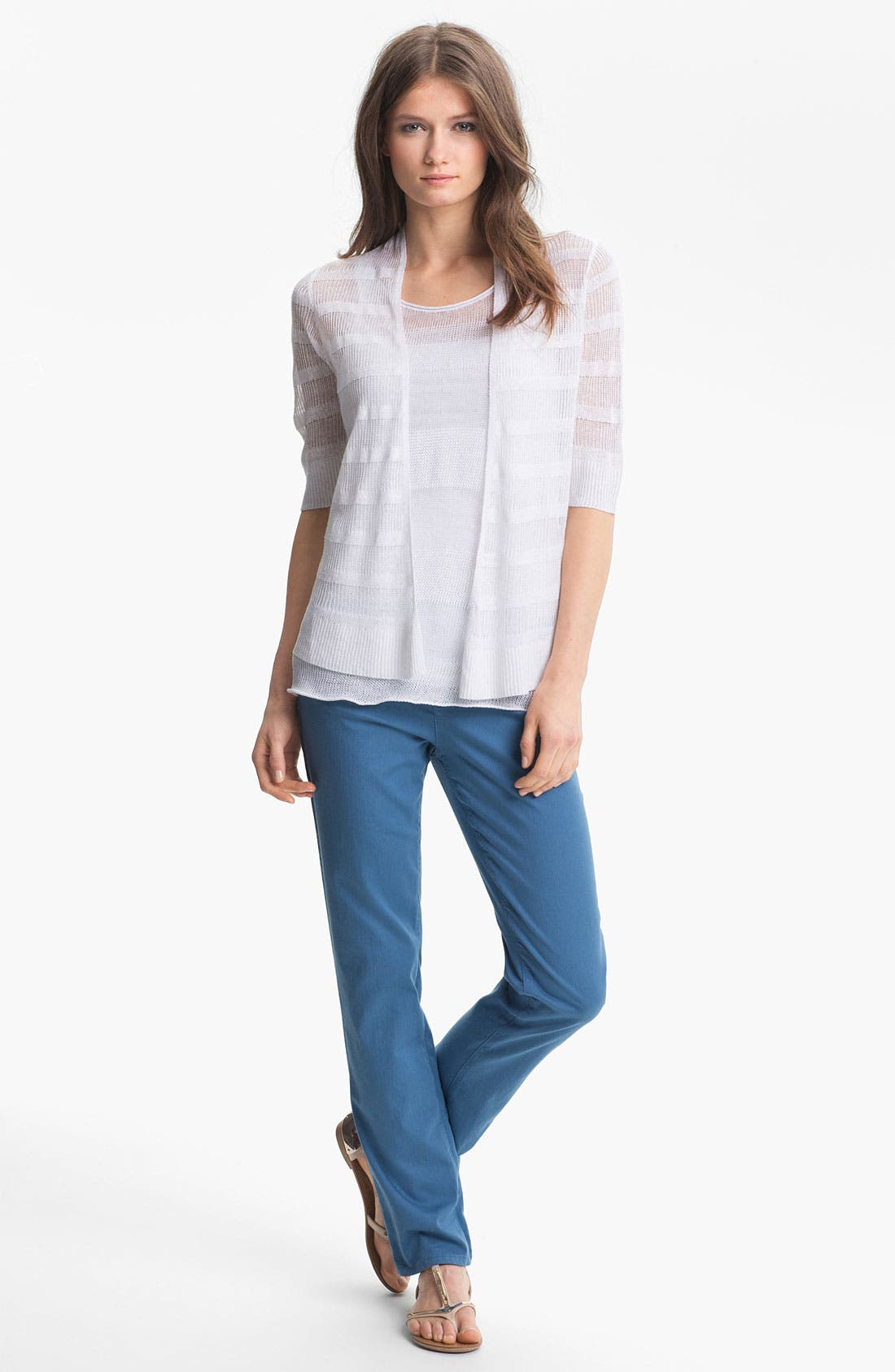 Alternate Image 3  - Eileen Fisher Linen Stripe Open Front Cardigan