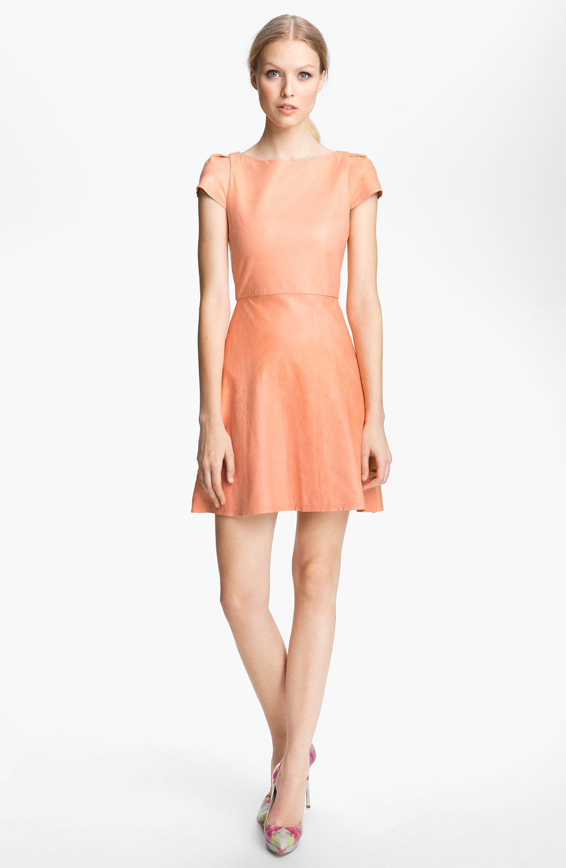 Main Image - Alice + Olivia Leather A-Line Dress