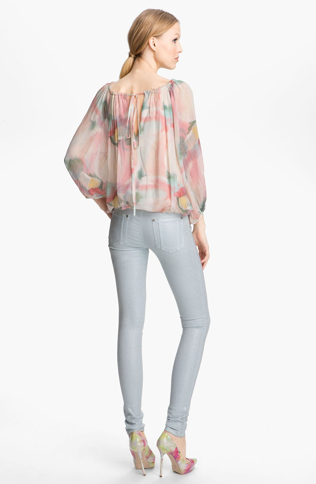 Alternate Image 4  - Alice + Olivia Floral Print Silk Top