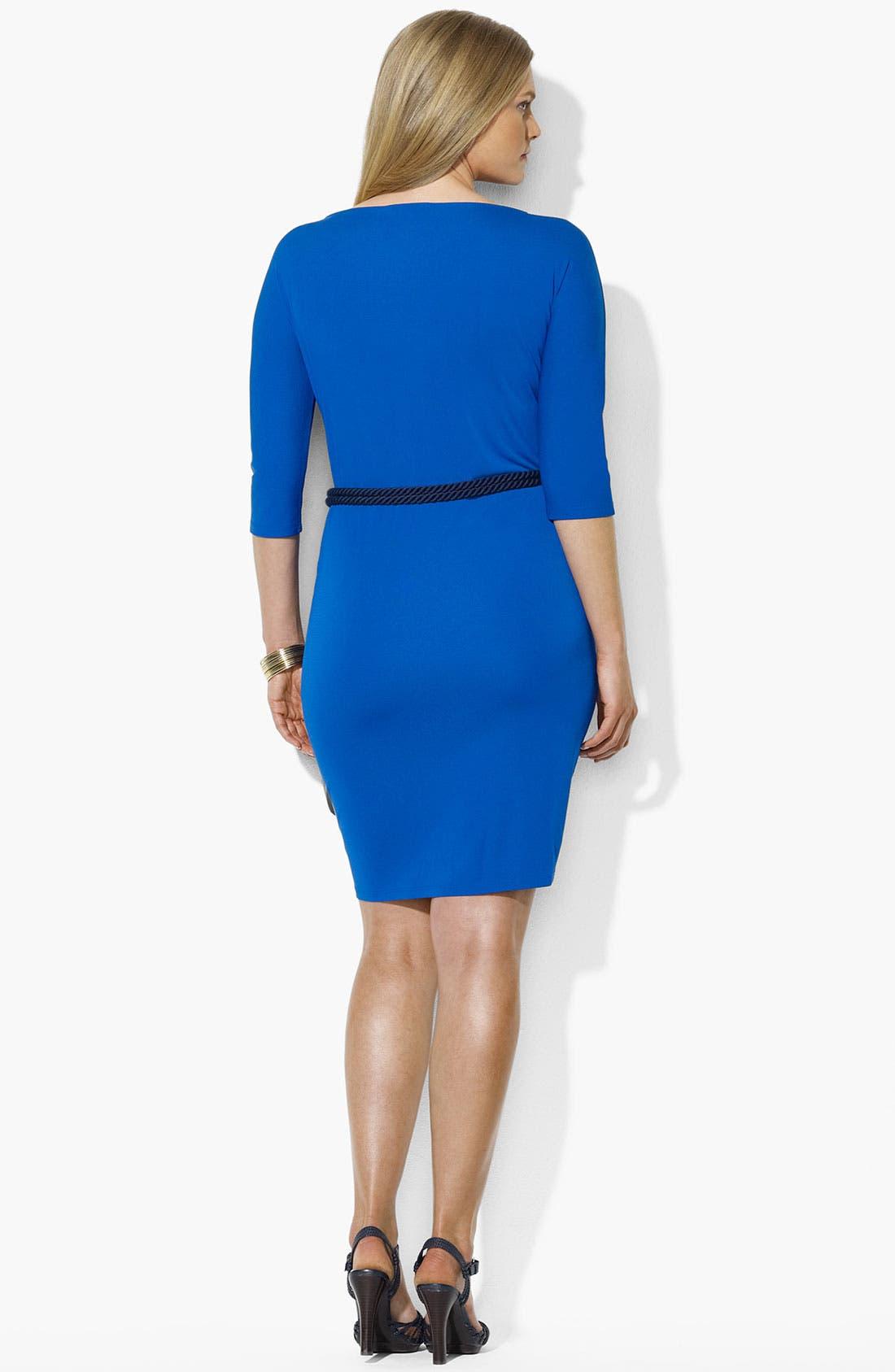 Alternate Image 2  - Lauren Ralph Lauren Belted Dress (Plus Size)