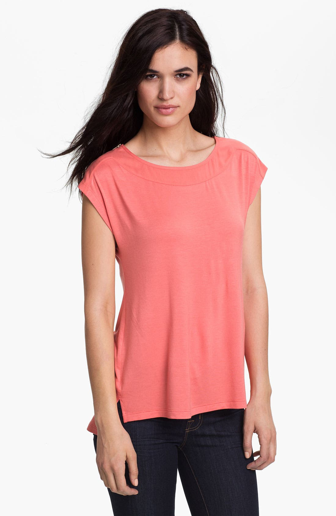 Main Image - Pleione Zip Shoulder Cap Sleeve Top