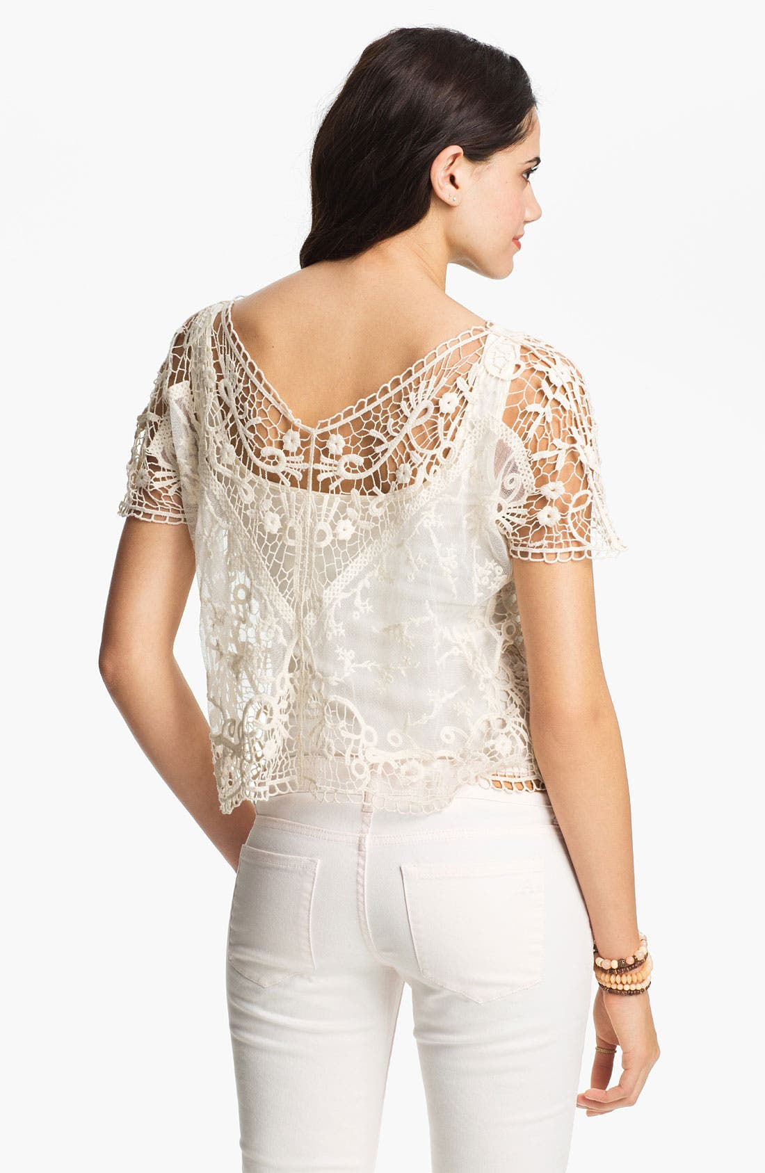 Alternate Image 2  - Absolutely Cotton Crochet Lace Top (Juniors)