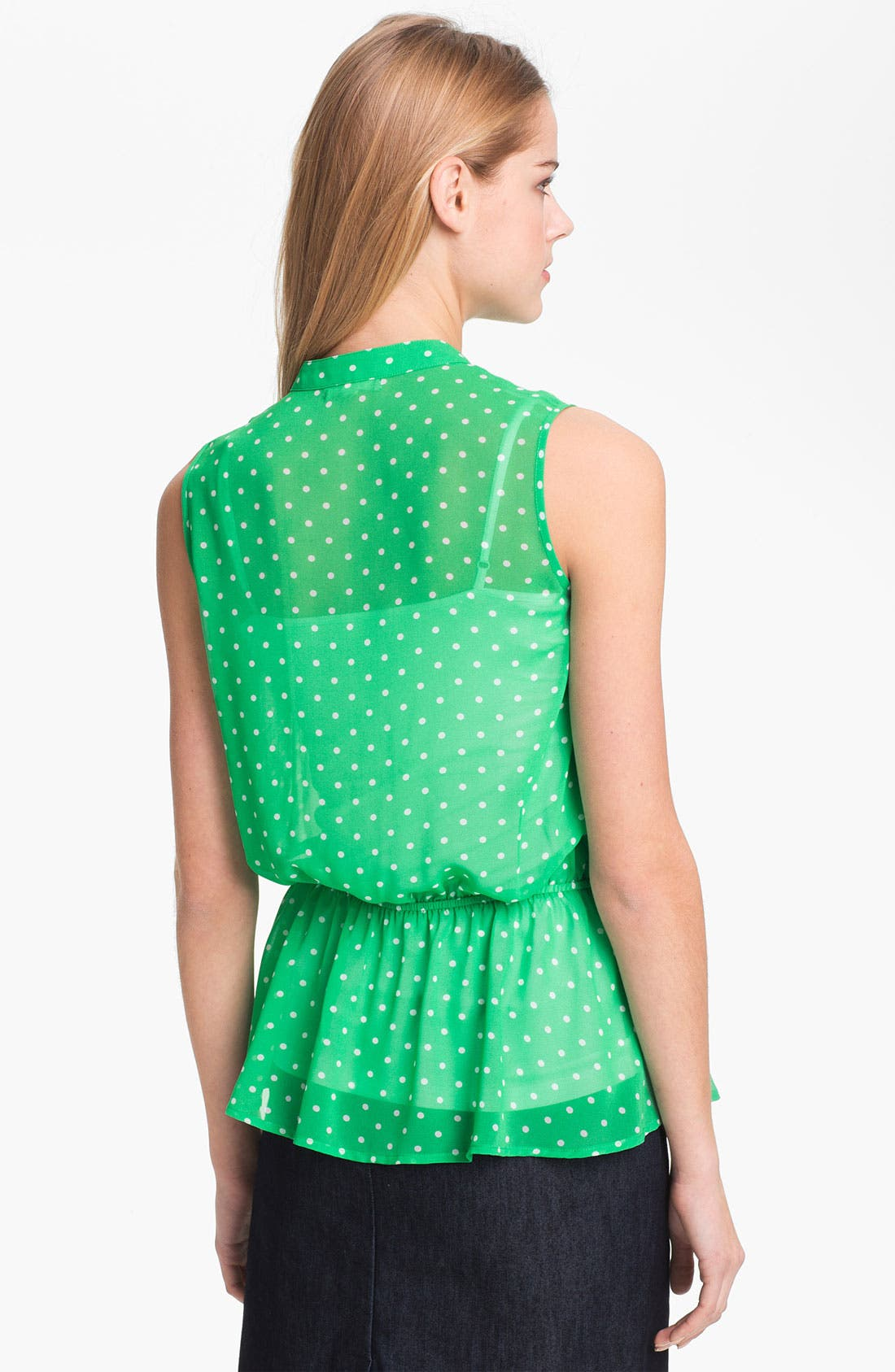 Alternate Image 2  - Pleione Sleeveless Dot Print Peplum Blouse
