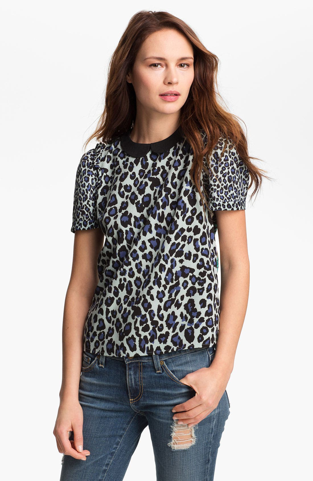 Alternate Image 1 Selected - Maison Scotch Peter Pan Collar Mix Print Top