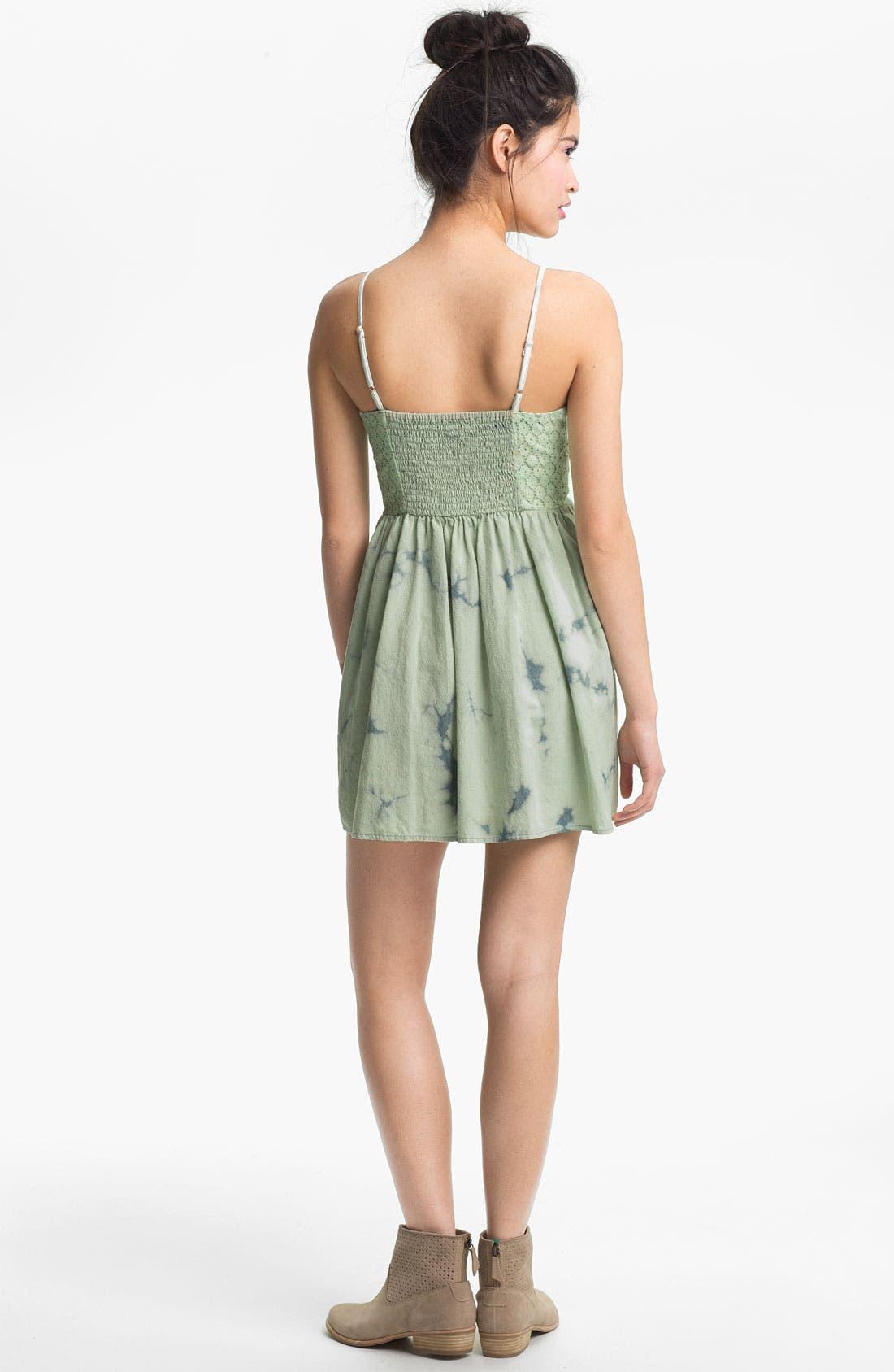 Alternate Image 2  - Fire Tie Dye Chambray Bustier Dress (Juniors)