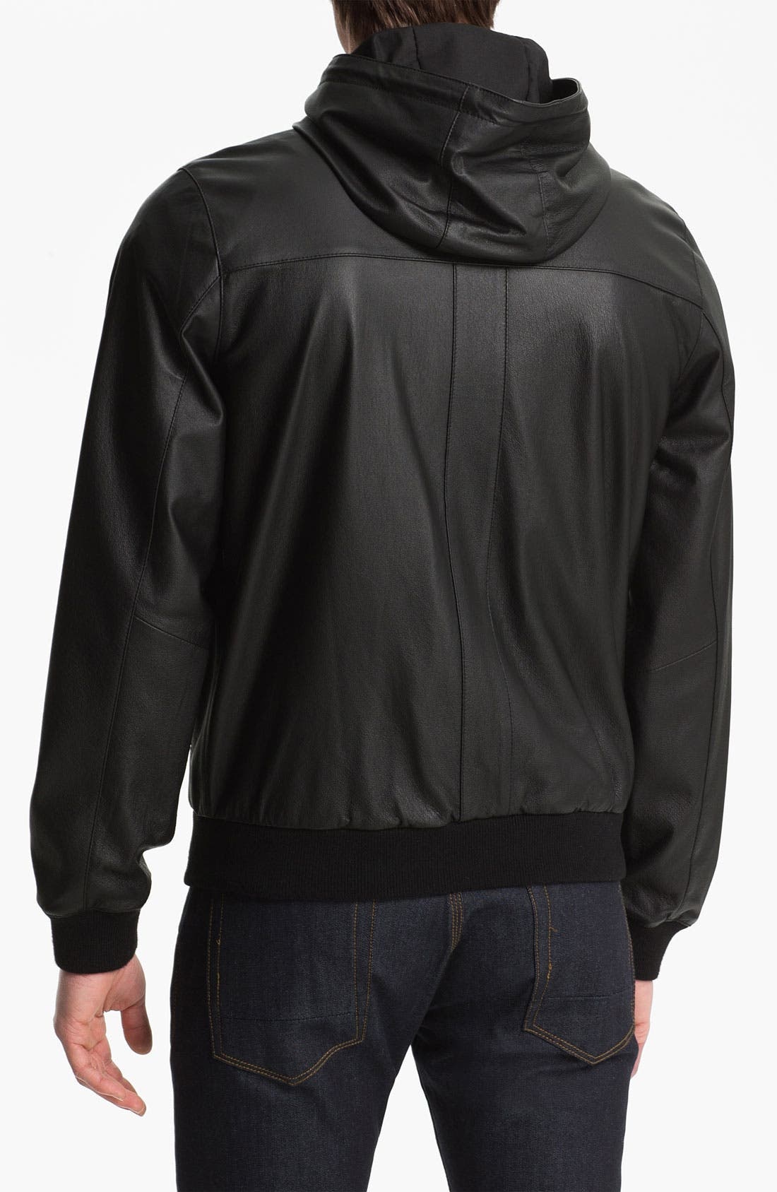 Alternate Image 2  - Topman 'Bramley' Hooded Leather Jacket