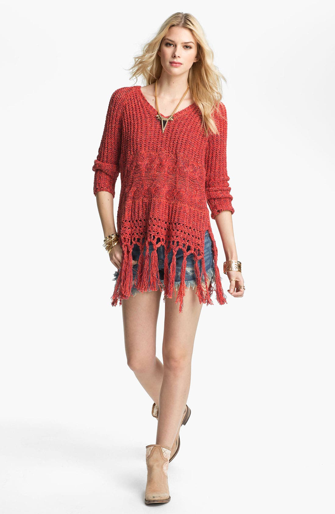 Main Image - Free People 'Santa Rosa' Fringe Trim Hooded Sweater