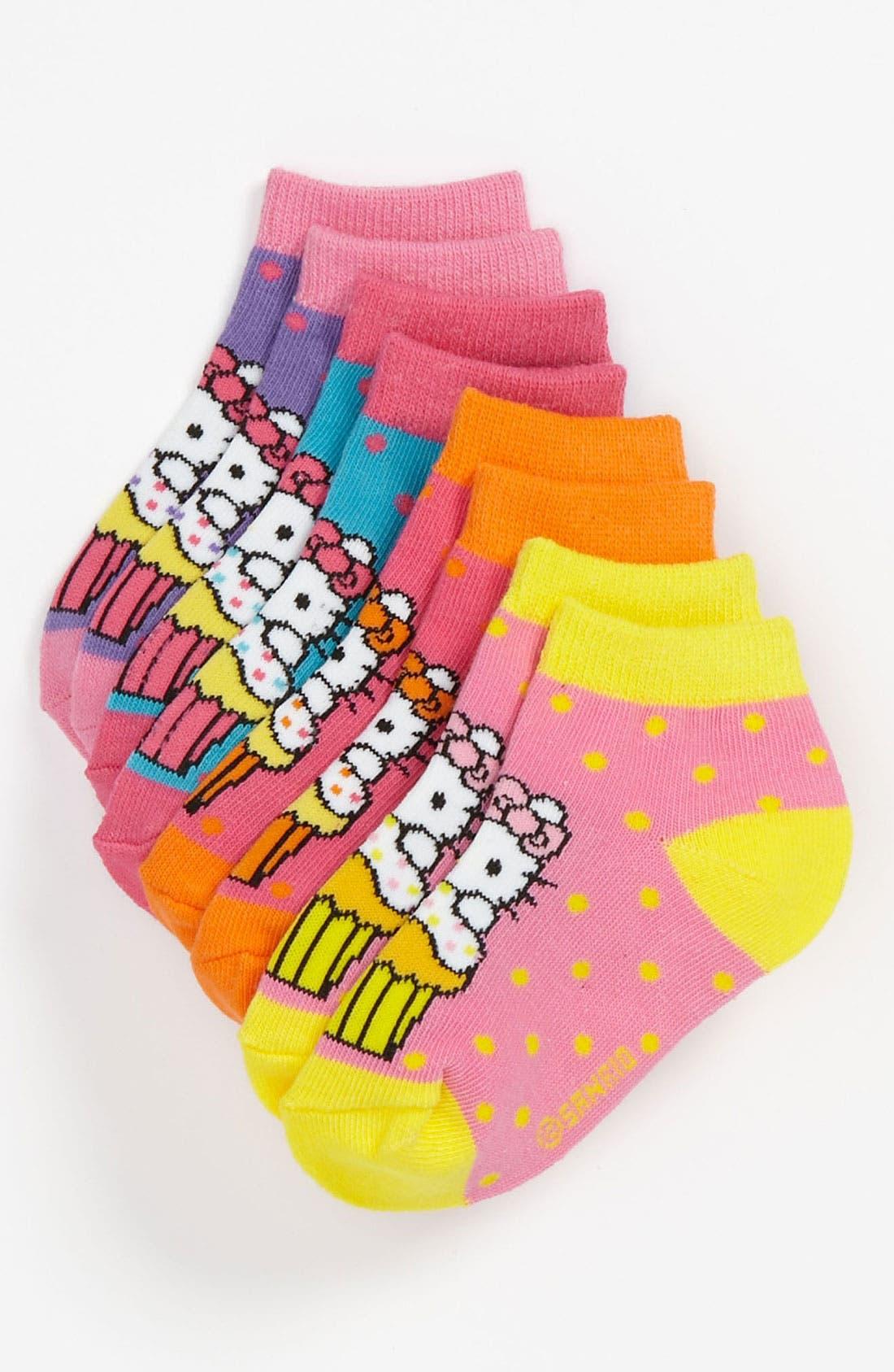 Alternate Image 1 Selected - Hello Kitty® 'Cupcake' Socks (4-Pack) (Walker & Toddler)