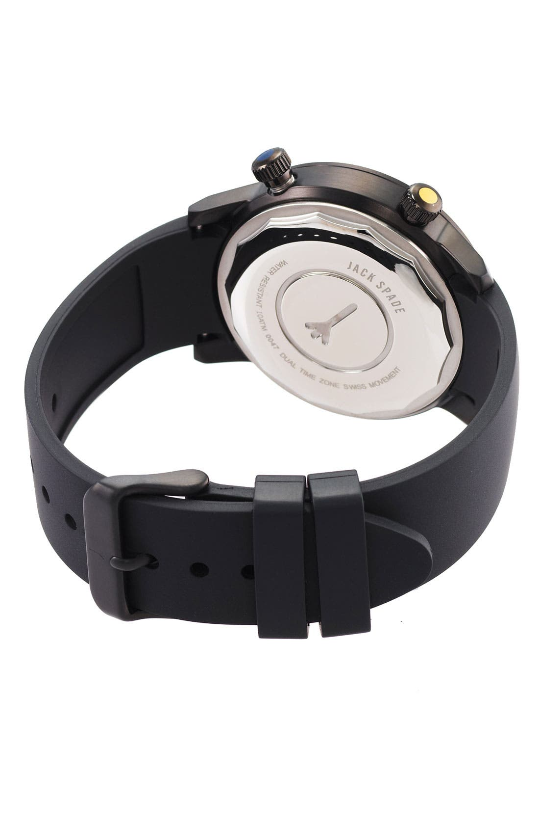 Alternate Image 2  - Jack Spade 'Cortlandt' Dual Time Rubber Strap Watch, 43mm