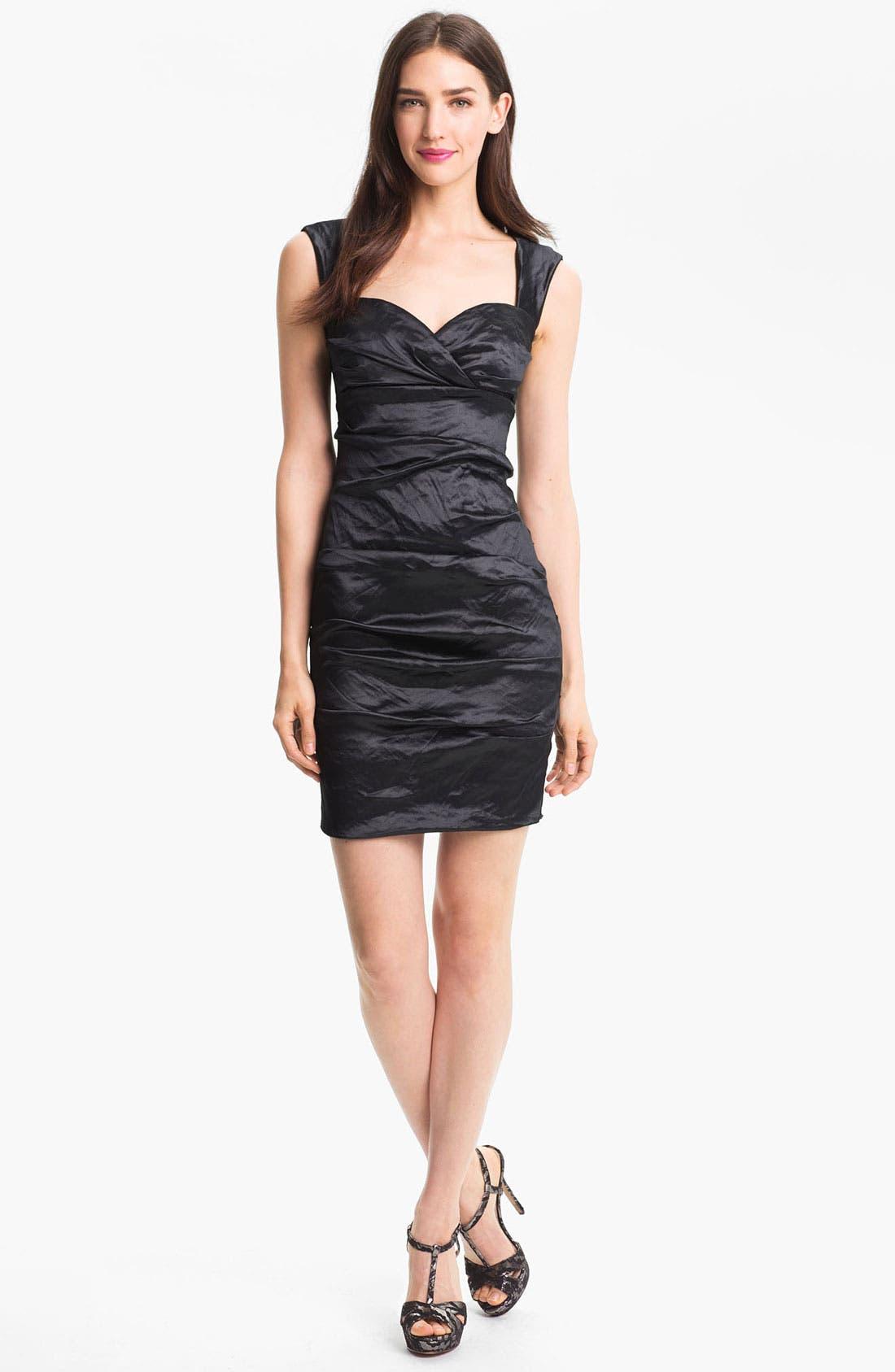 Alternate Image 1 Selected - Nicole Miller Techno Metal Faille Sheath Dress