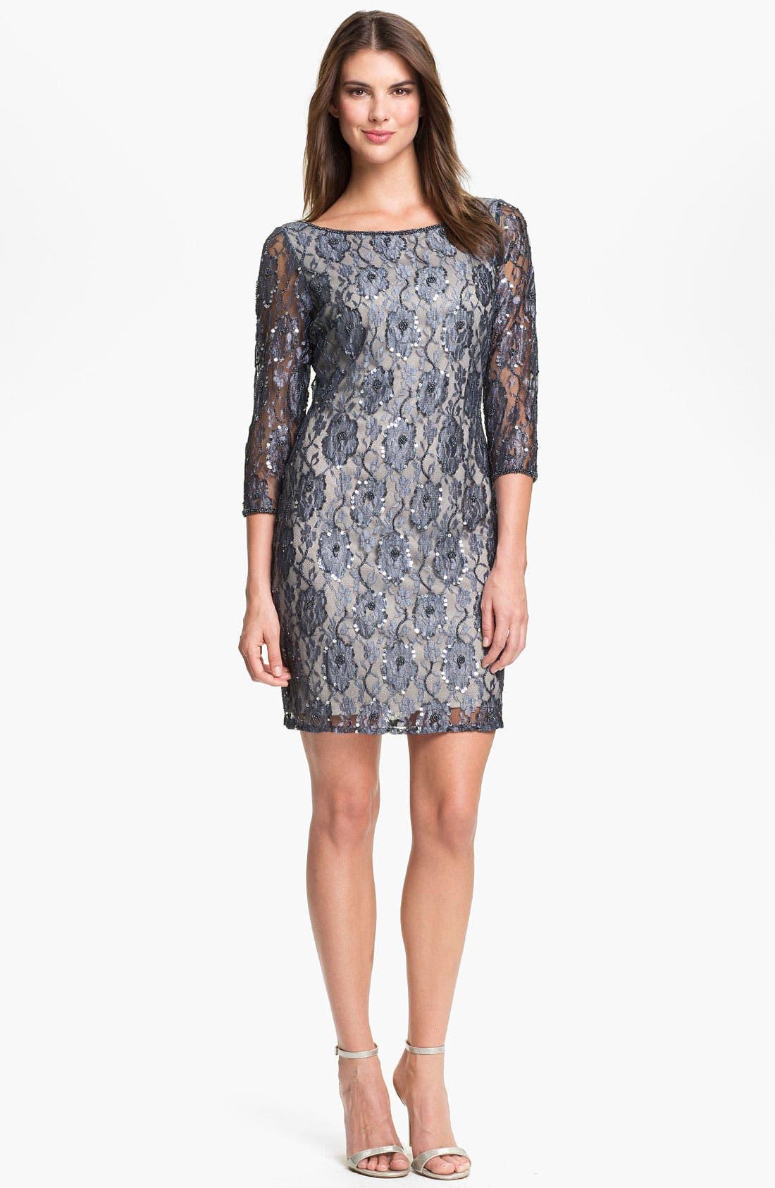 Alternate Image 1  - Pisarro Nights Embellished Lace Sheath Dress