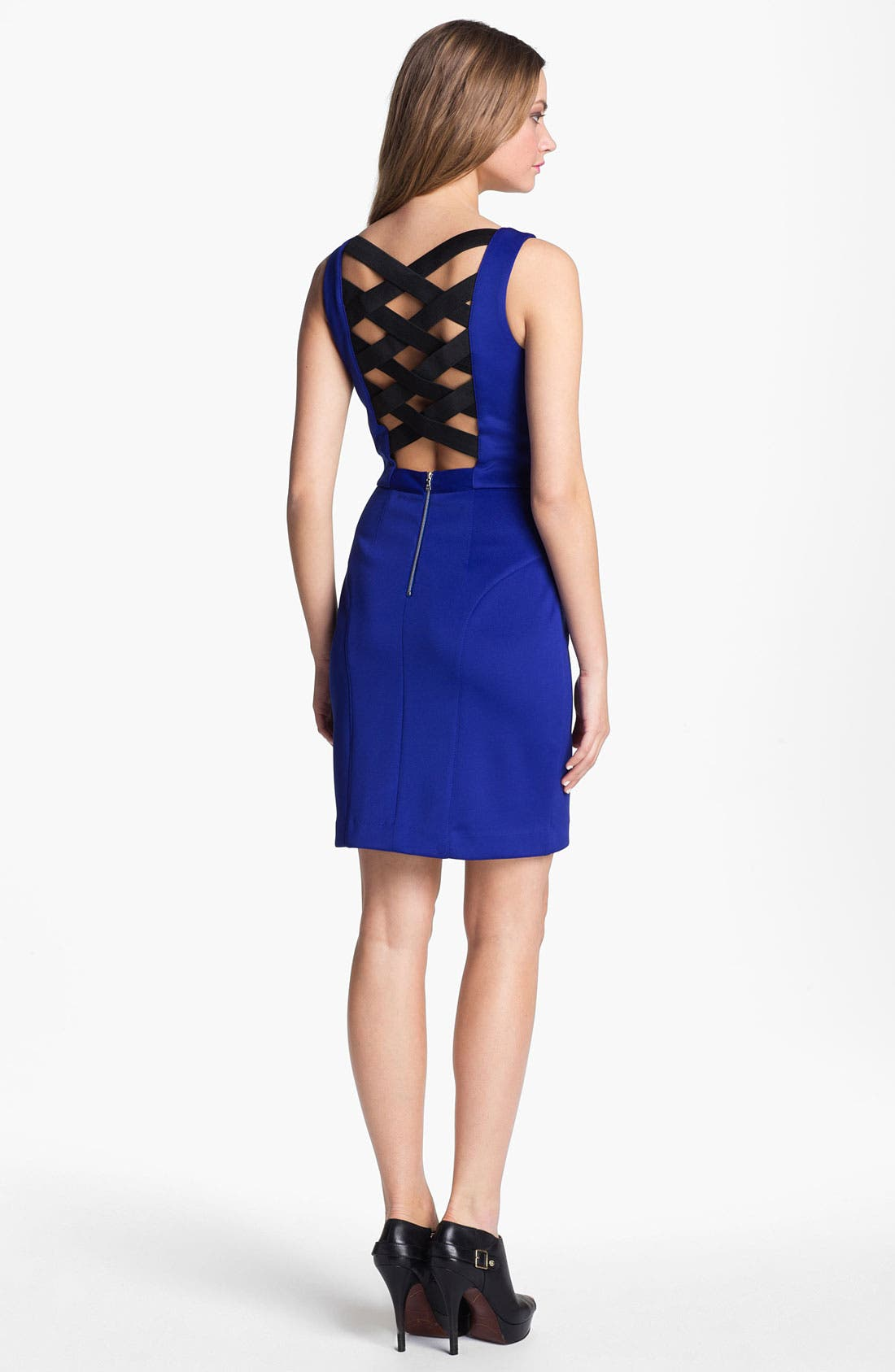 Alternate Image 2  - Betsey Johnson Cross Back Sheath Dress
