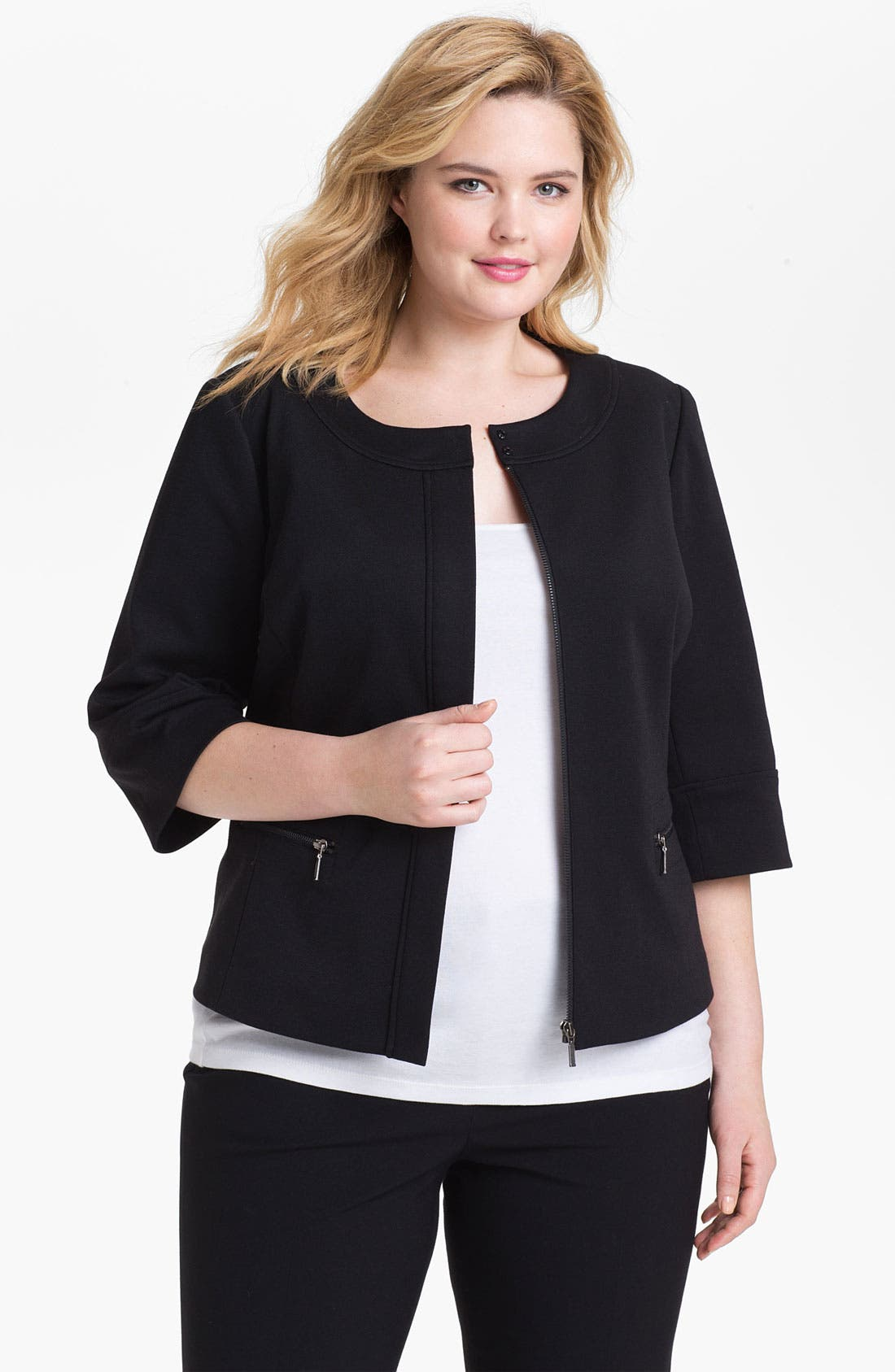 Main Image - Sejour Zip Front Ponte Knit Jacket (Plus Size)