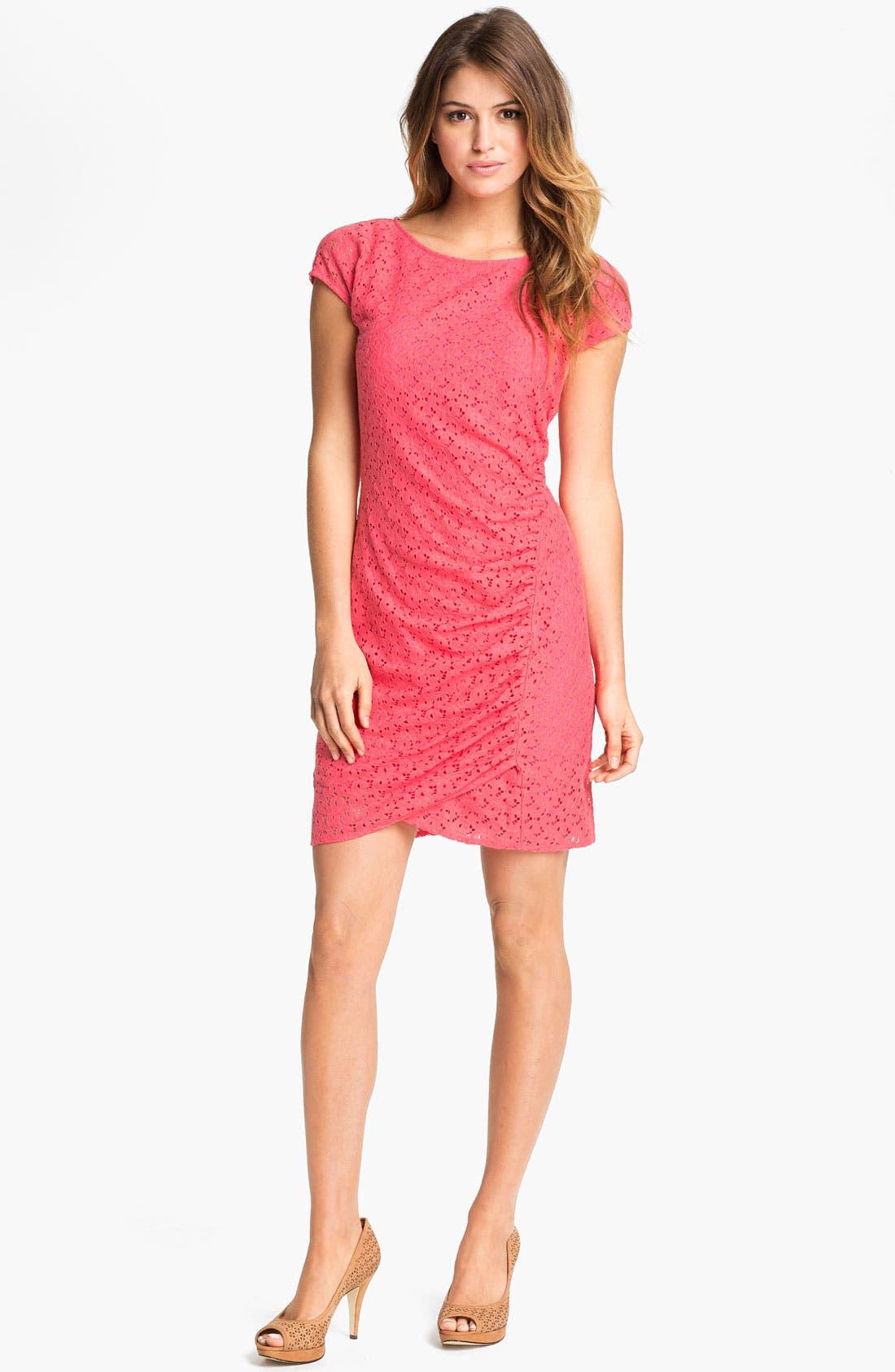 Alternate Image 1  - DKNYC Cap Sleeve Lace Dress